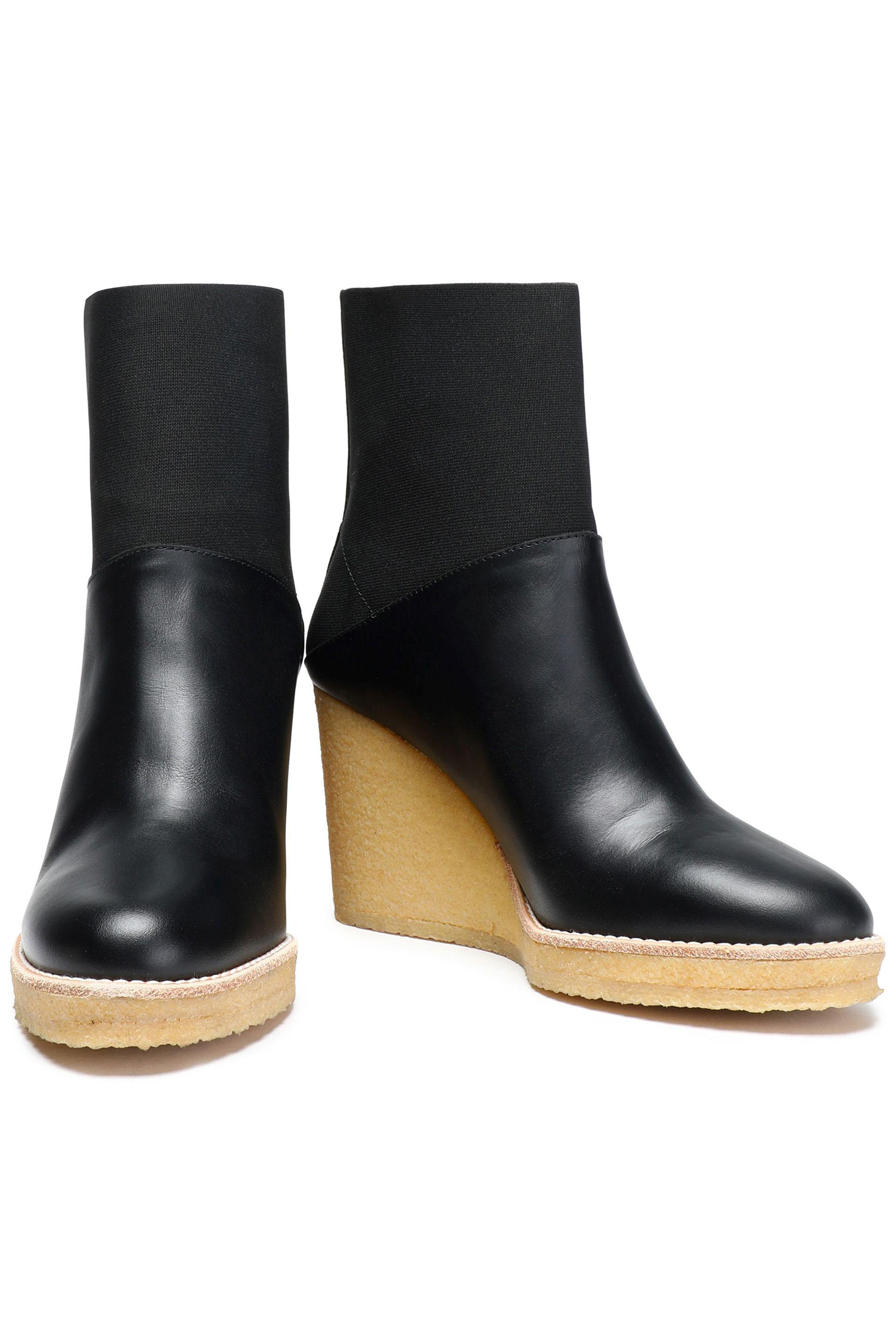 31d43b6bdd67 Castaner - Black Paneled Leather And Stretch-knit Wedge Ankle Boots - Lyst