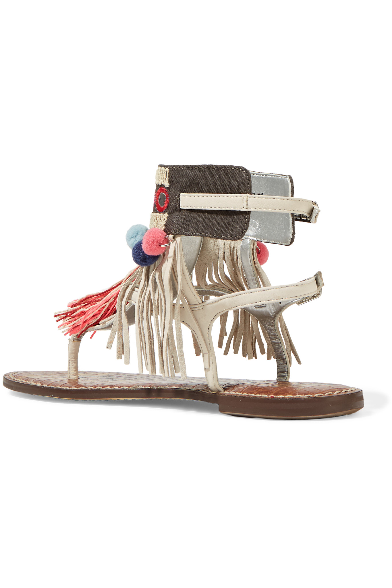 081c7480f24c48 Lyst - Sam Edelman Gere Fringe-trimmed Leather Sandals in White
