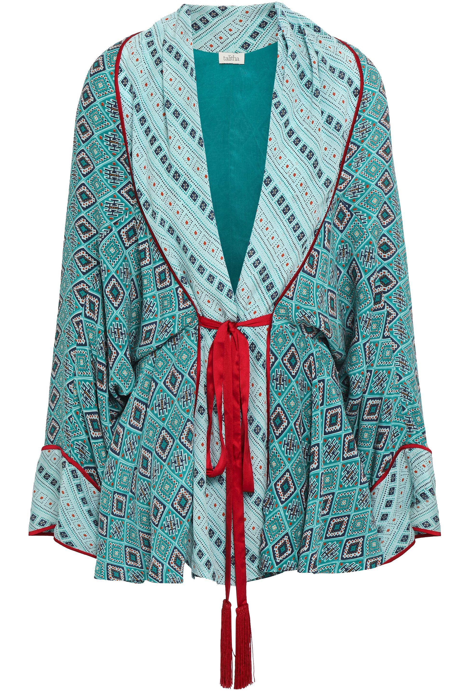 985e5e68b45 Talitha Woman Tasseled Printed Silk Crepe De Chine Kimono Jade - Lyst