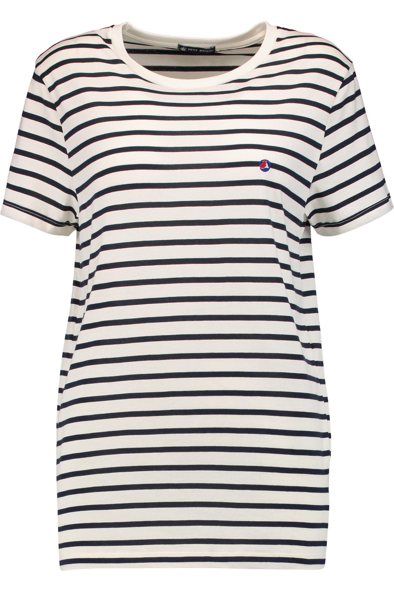 Lyst petit bateau striped cotton top in white for Petit bateau striped shirt