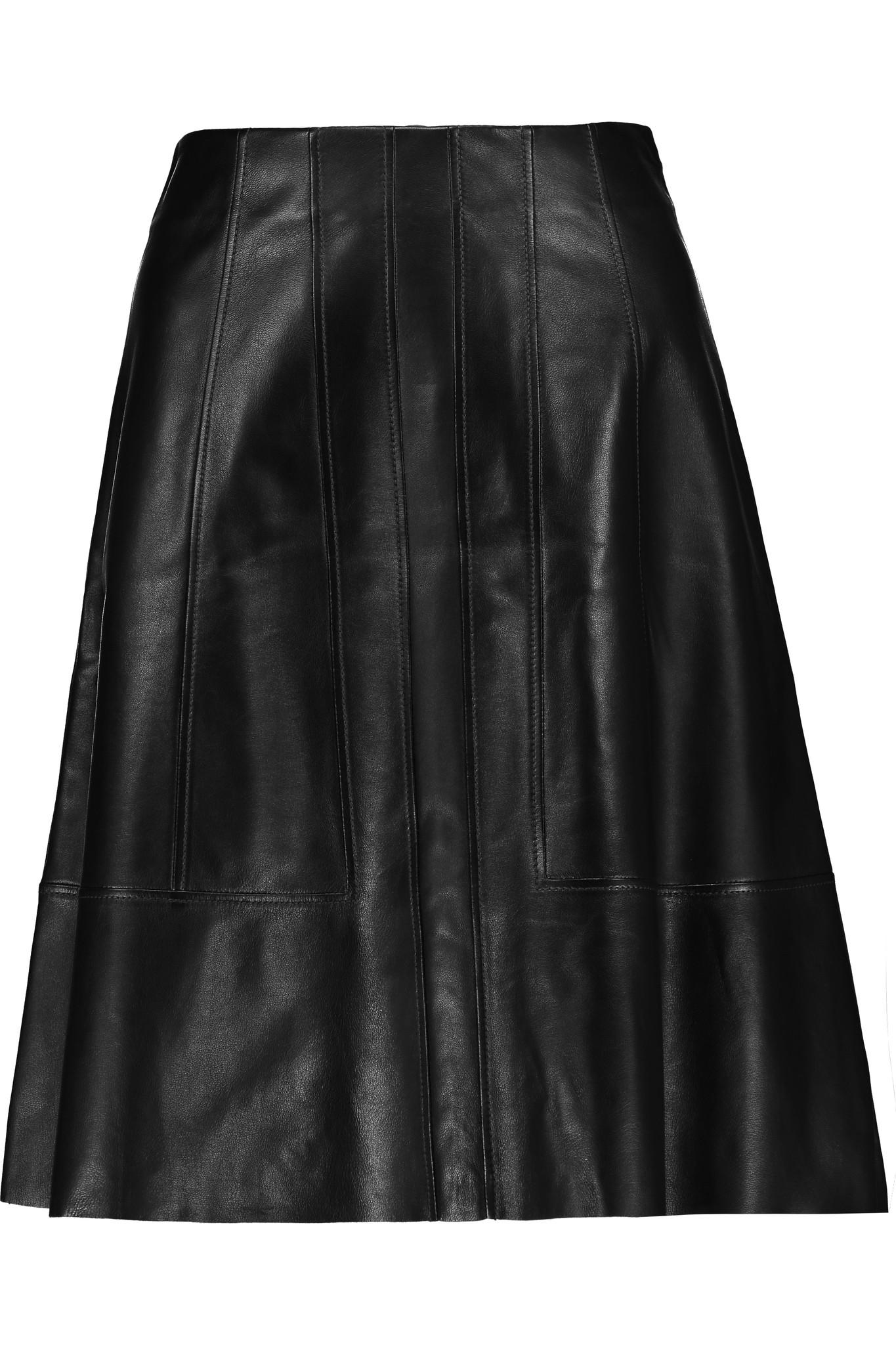 proenza schouler flared leather mini skirt in black lyst