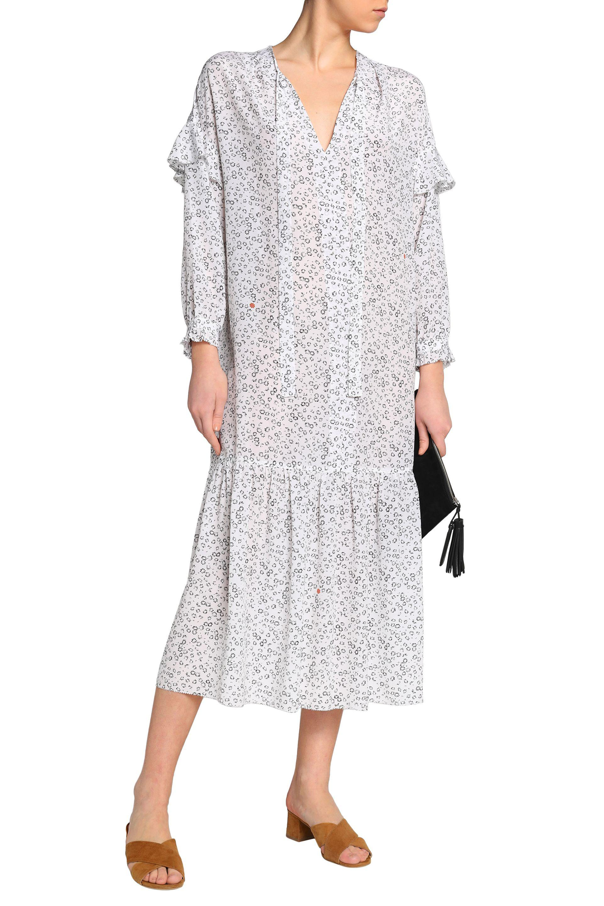 M.i.h Jeans Woman Erika Pussy-bow Floral-print Silk Midi Dress White Size XS Mih Jeans Oaufps