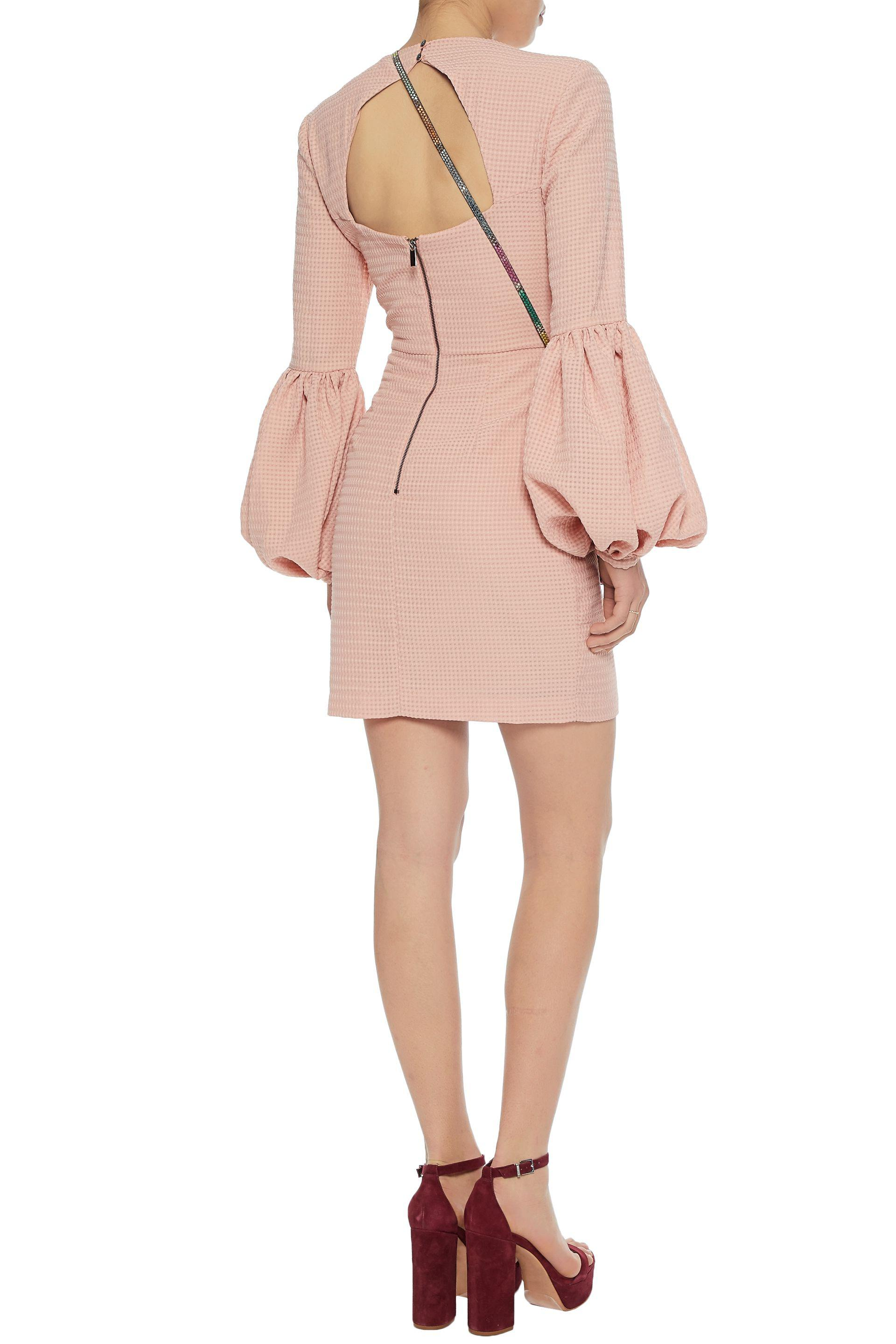 Rebecca Vallance Woman Cutout Gathered Jacquard Mini Dress Baby Pink Size 10 Rebecca Vallance Order Cheap Price Discount Real Sale Get Authentic Sast Sale Online Low Cost Cheap Online 4h6R0633al