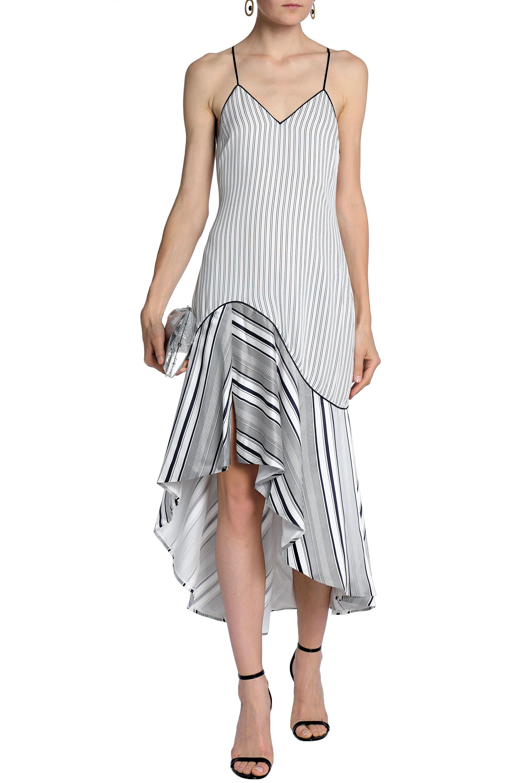 7fd415e1ea Jonathan Simkhai Woman Asymmetric Striped Silk-satin Midi Dress ...