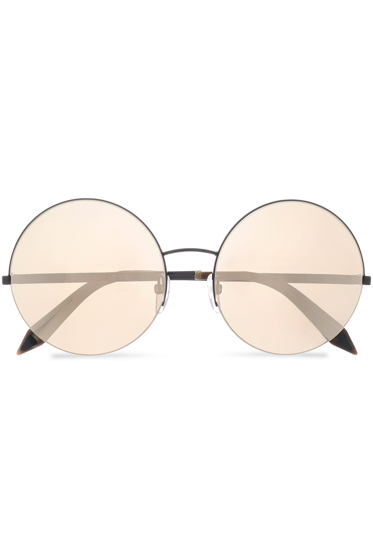 f9fb36cb9bfb Victoria Beckham. Women s Woman Supra Round-frame Gunmetal-tone Mirrored  Sunglasses Black