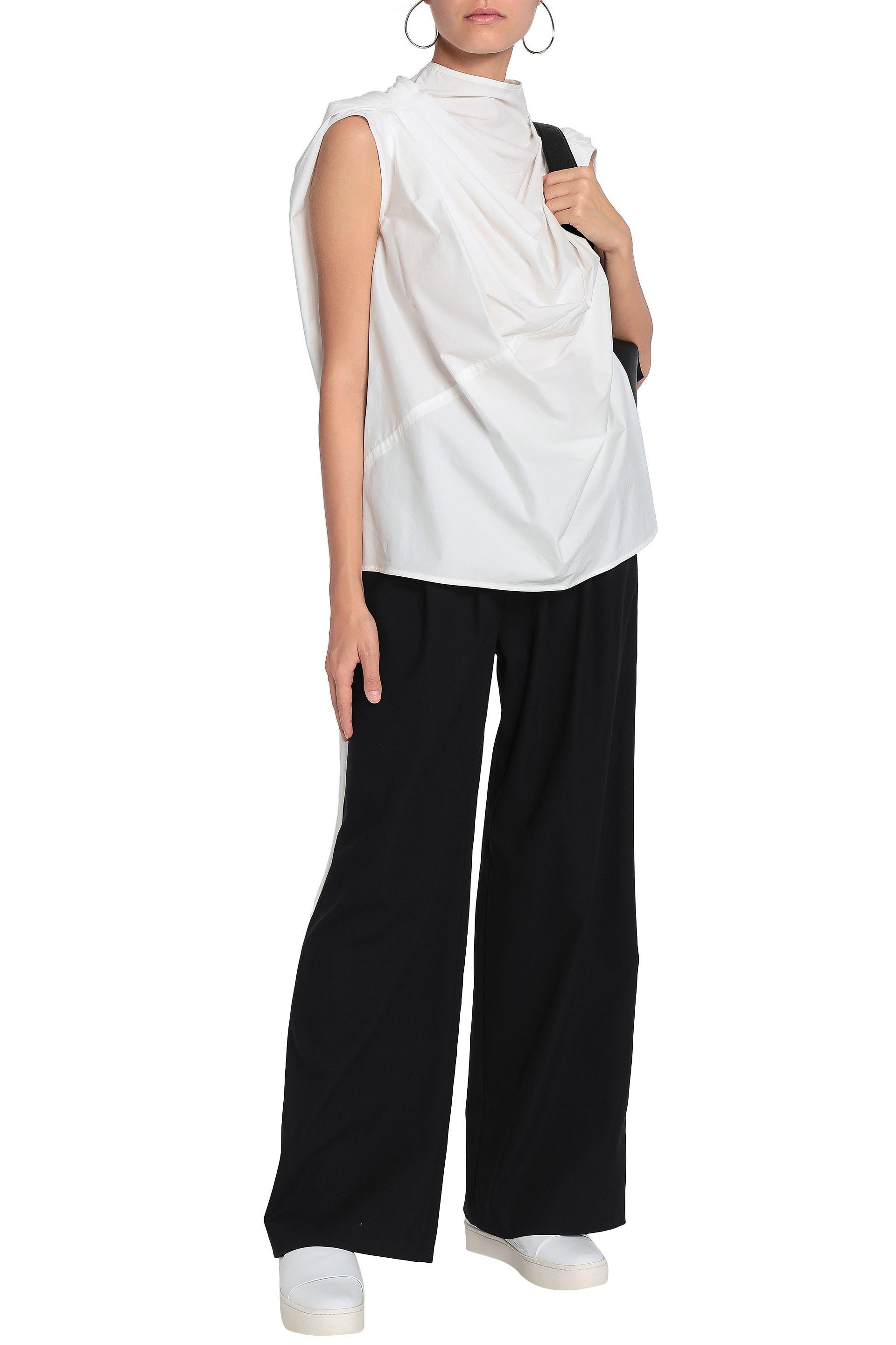 Rick Owens Draped Cotton-poplin Top in White - Lyst 9610dfbdb
