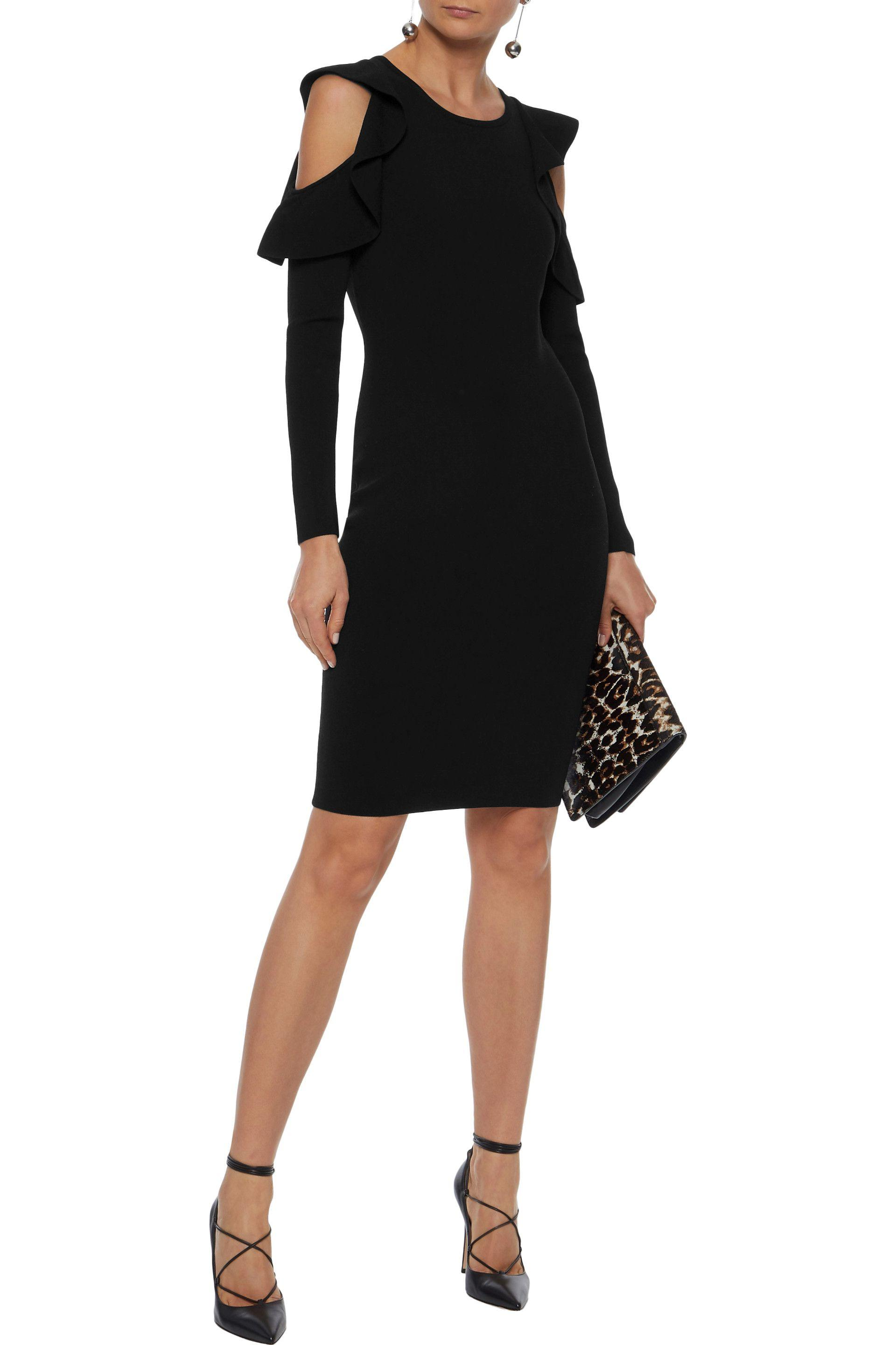 a34c744a3371 MILLY - Woman Cold-shoulder Ruffle-trimmed Stretch-knit Dress Black - Lyst.  View fullscreen