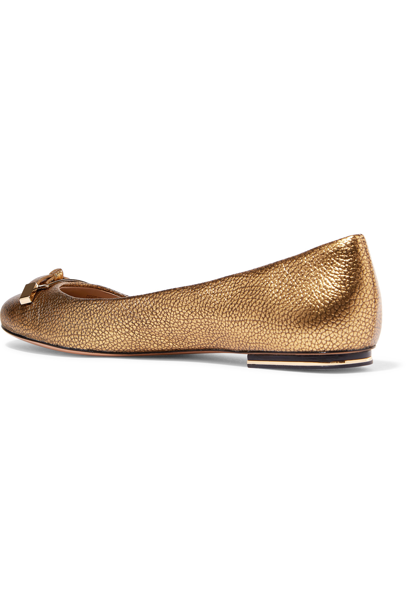 michael kors pearl textured leather ballet flats in gray gold lyst. Black Bedroom Furniture Sets. Home Design Ideas