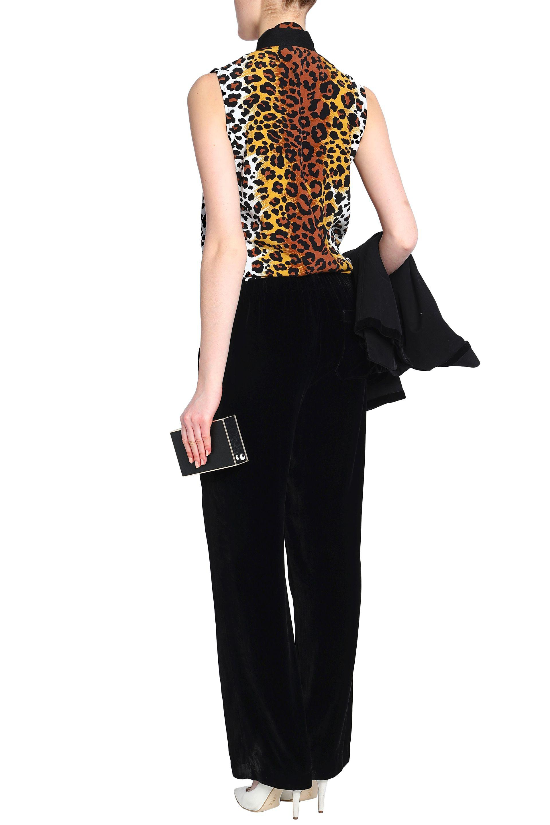 Love Moschino Woman Pussy-bow Leopard-print Crepe Top Animal Print Size 46 Love Moschino Comfortable Cheap Price Cheap 2018 New Deals Cheap Price lXeW5AaM1