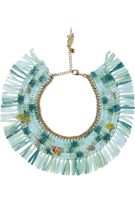 Rosantica Rosantica Woman Gold-tone, Raffia And Quartz Necklace Mint Size ONESIZE