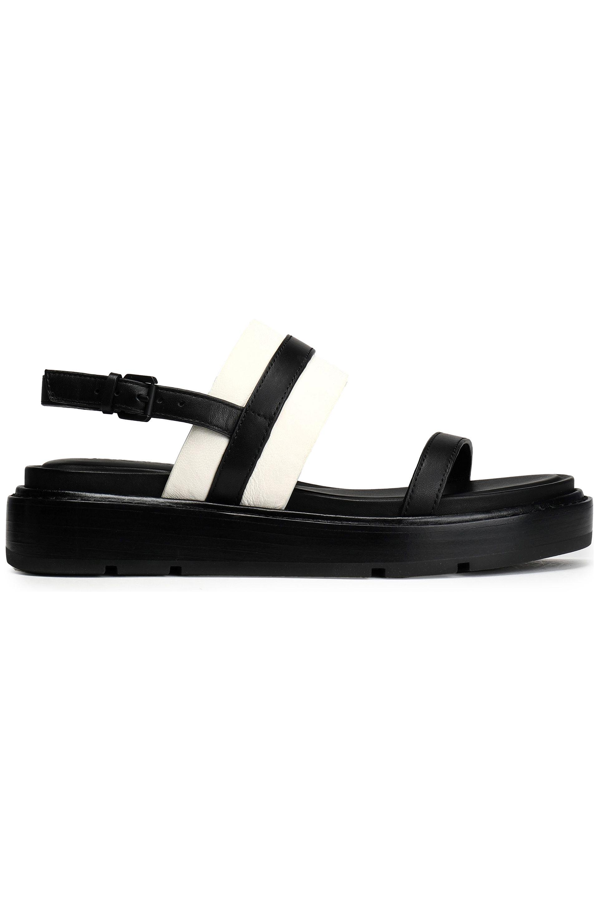 233de1af726d Dkny Two-tone Leather Sandals in Black - Lyst