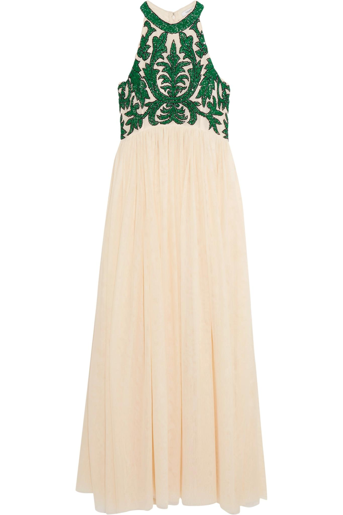 f11e126f Lyst - Ganni Colby Sequined Tulle Maxi Dress in Natural