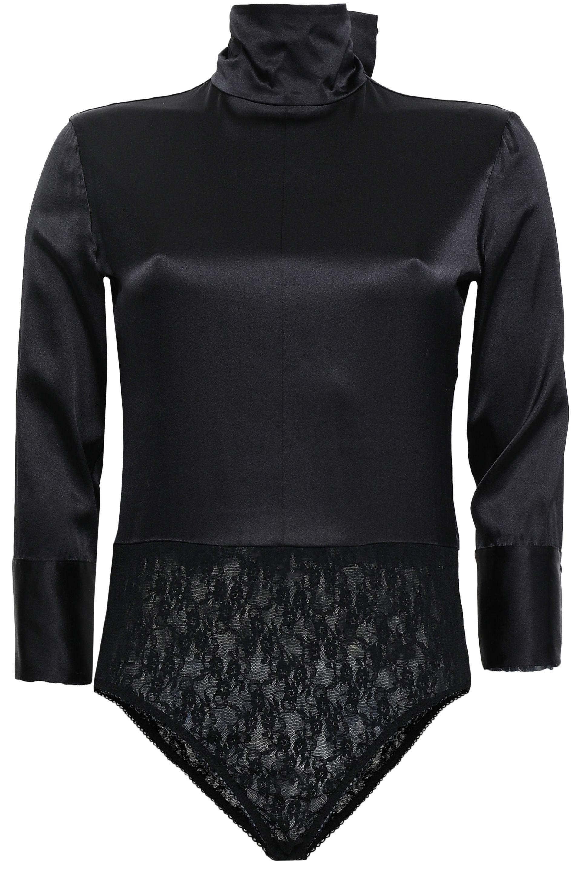 1e8ab67852 Nina Ricci Woman Paneled Lace And Silk-blend Turtleneck Bodysuit ...