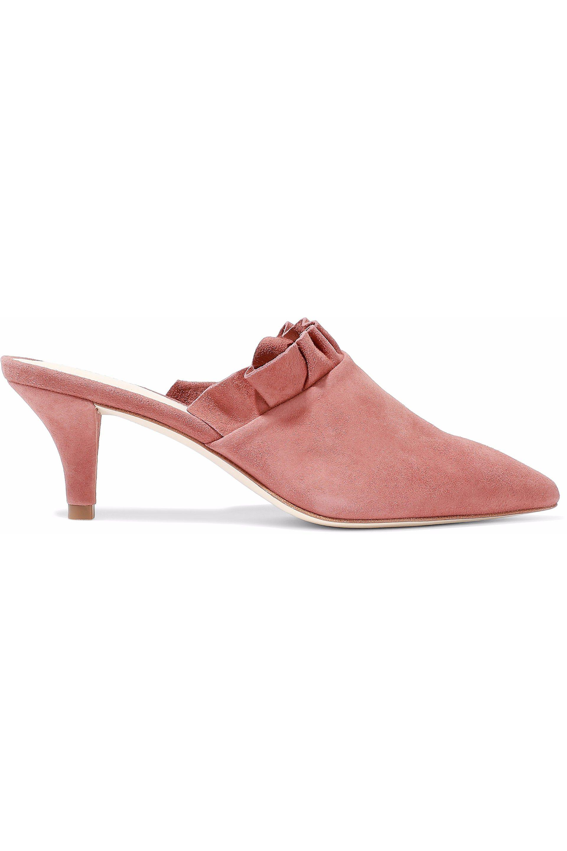 sale from china Loeffler Randall Ruffle-Trimmed Suede Mules w/ Tags sale reliable discount countdown package buy cheap genuine discount Inexpensive PQewAXh