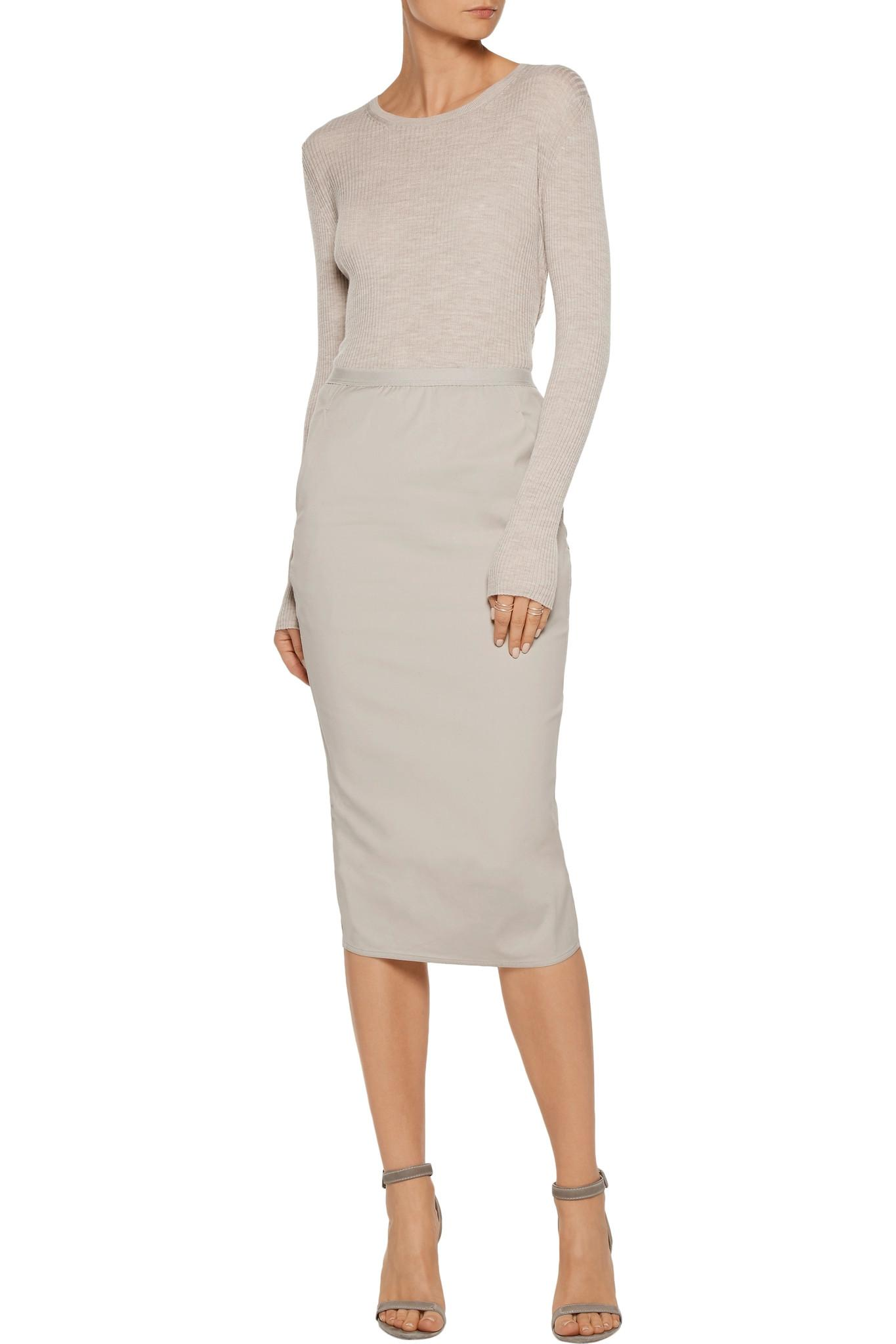 rick owens wrap effect cotton blend canvas midi skirt in