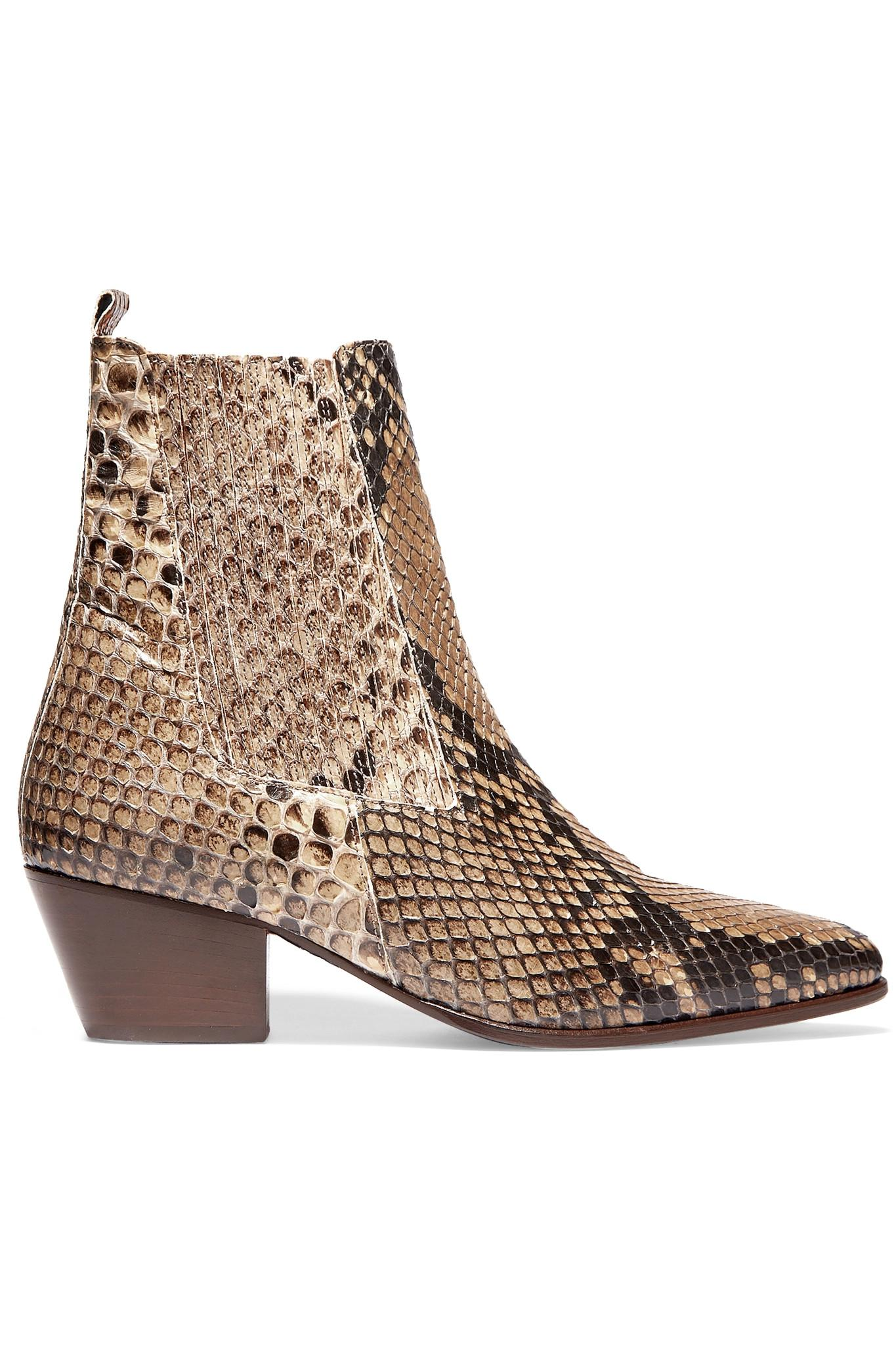 Lyst Sandro Anouck Snake Print Leather Ankle Boots In Brown