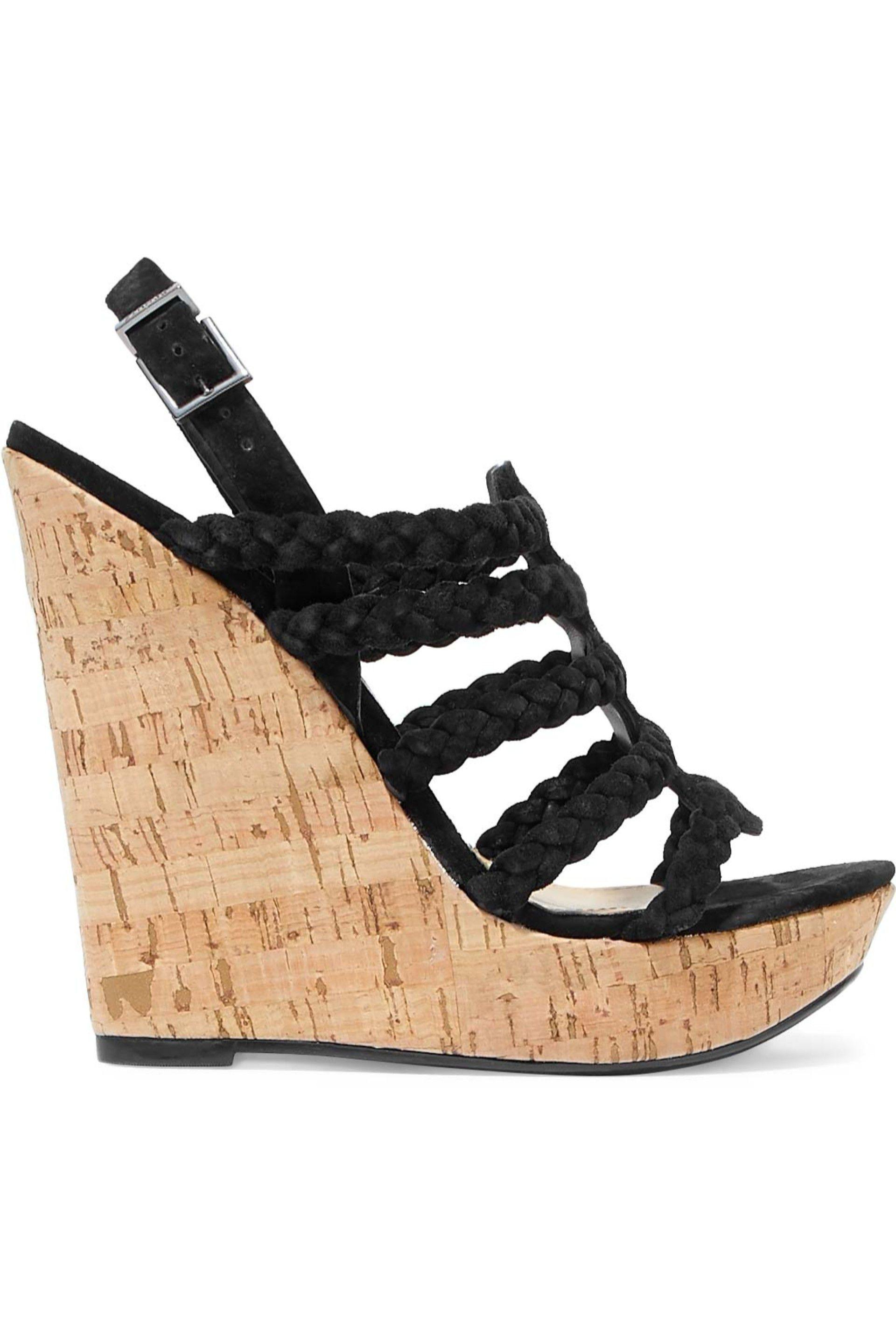 b9a0ab1bb Lyst - Schutz Woman Braided Faux Suede And Cork Wedge Sandals Black ...
