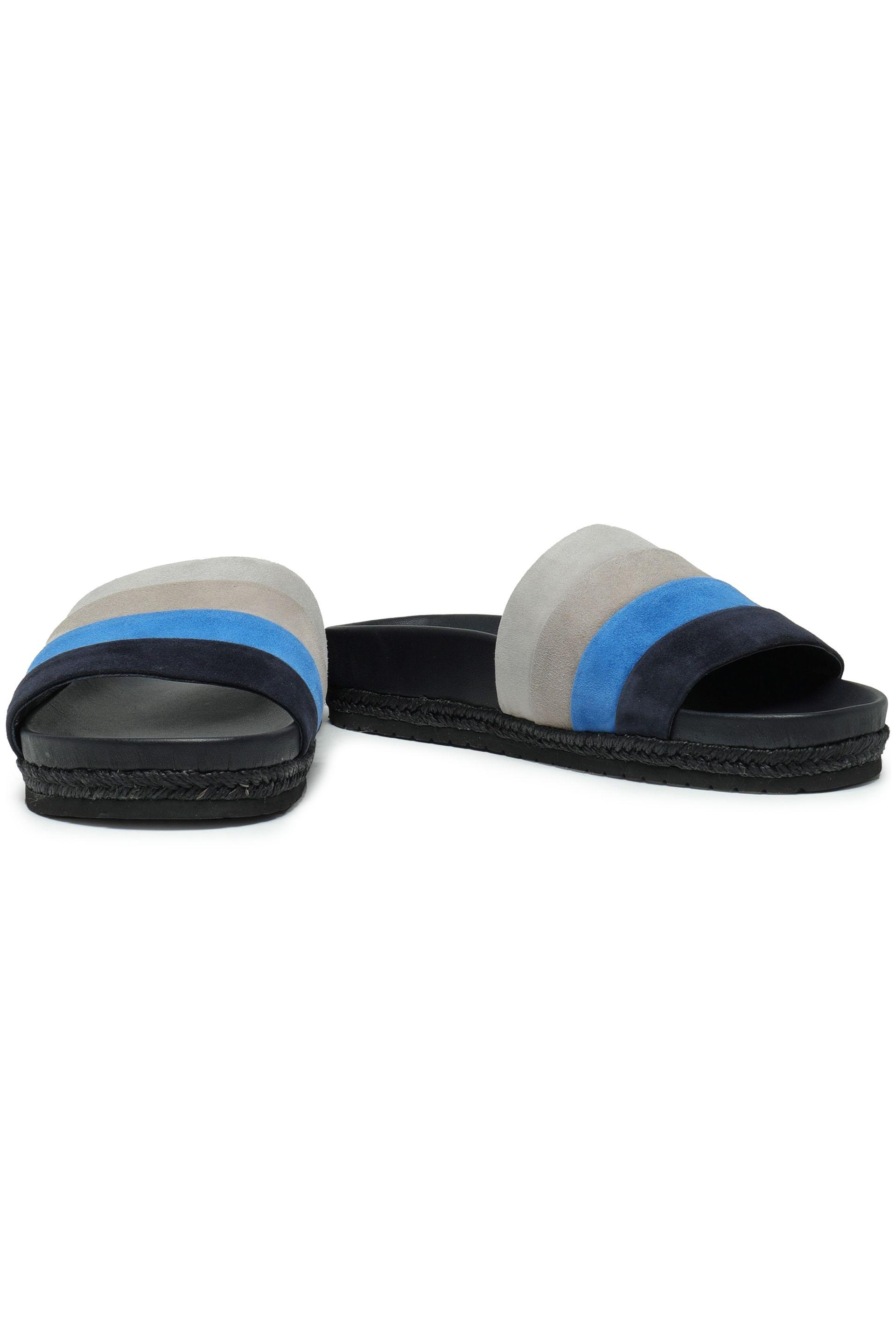 cad6285d413ab Vince - Blue Striped Suede Slides - Lyst. View fullscreen