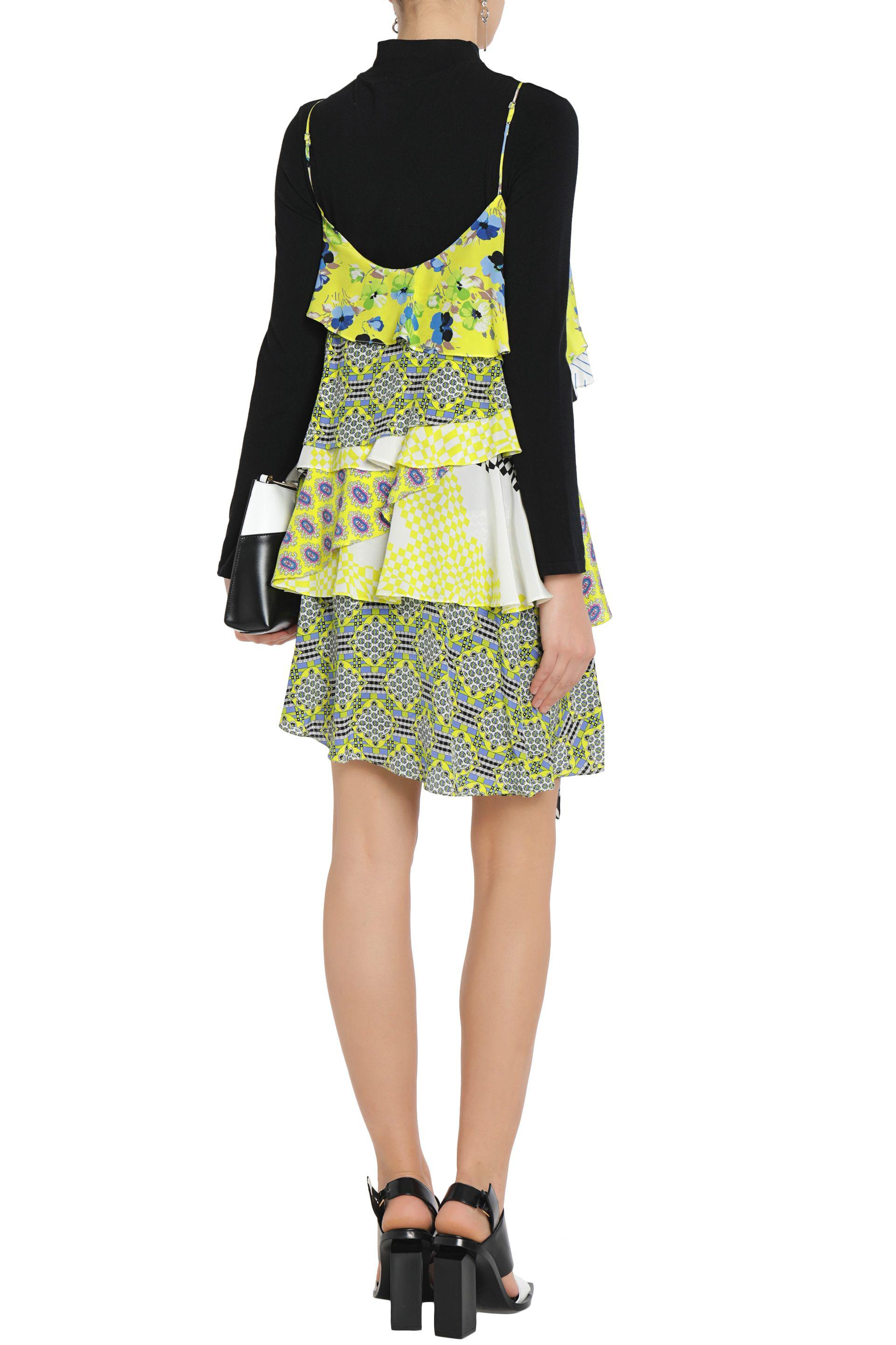 Printed pleated crepe dress Msgm Outlet Discount Authentic Outlet Buy otvQyRpH