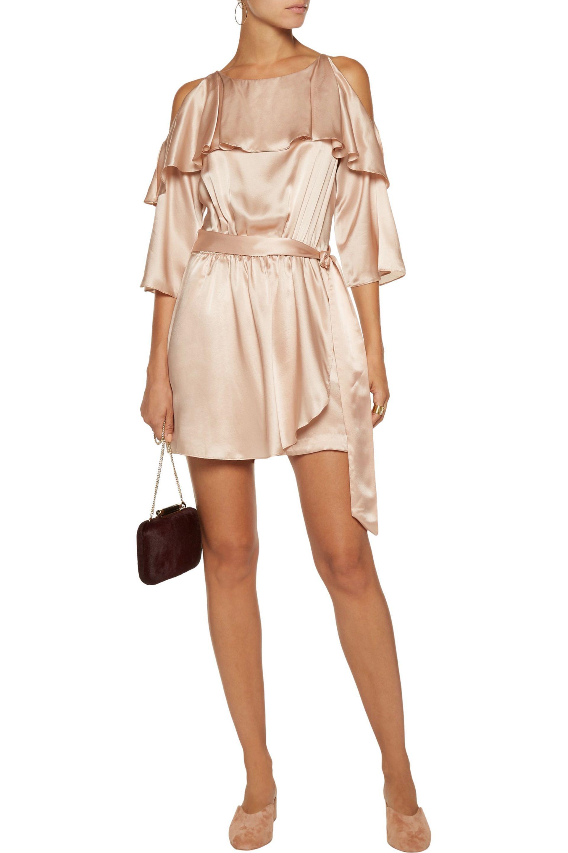 ce4f999bceb Lyst - Rachel Zoe Catrina Cold-shoulder Ruffled Silk-satin Playsuit ...