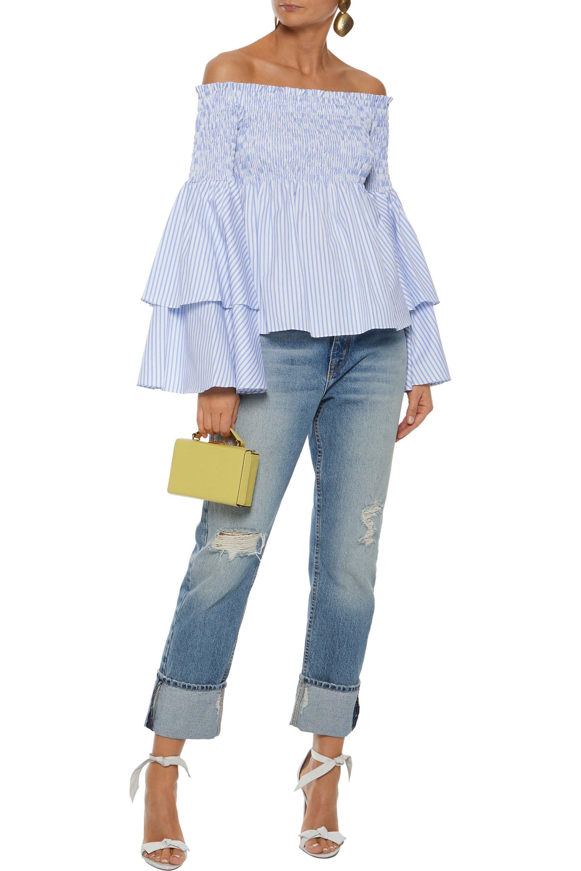 38f930542e265 Caroline Constas - Woman Appolonia Off-the-shoulder Striped Cotton-poplin  Blouse Light. View fullscreen