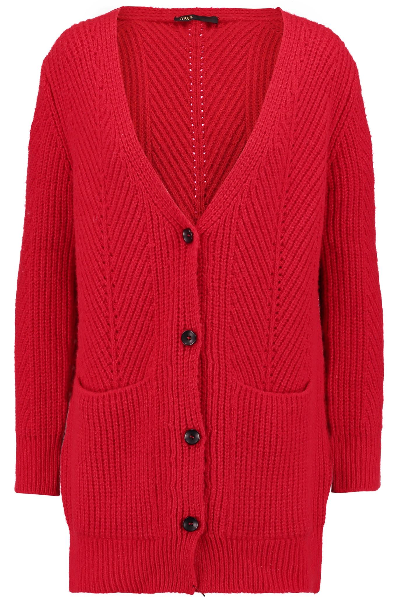 Maje Cable-knit Cardigan in Red | Lyst