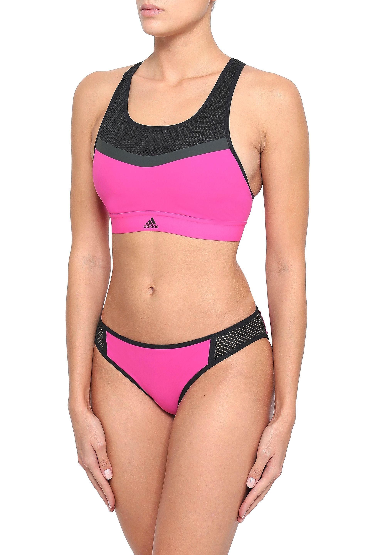 ad992d22a601 adidas Woman Mesh-paneled Stretch Sports Bra Fuchsia - Lyst