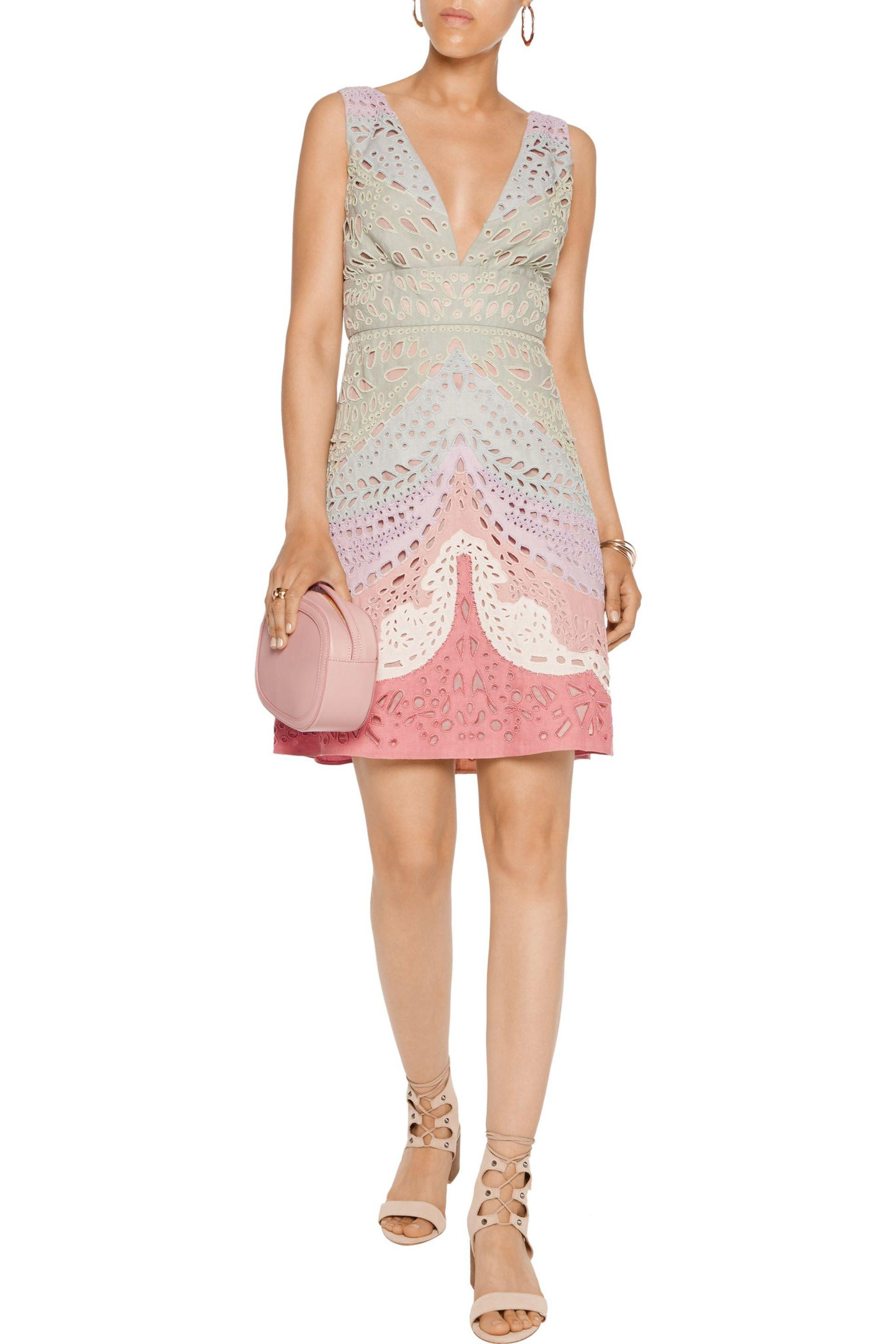 75370461ef32 Valentino - Multicolor Embellished Broderie Anglaise Linen Mini Dress -  Lyst. View fullscreen