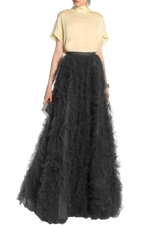 691f3f8525c7b Dark Grey Tulle Maxi Skirt - PostParc