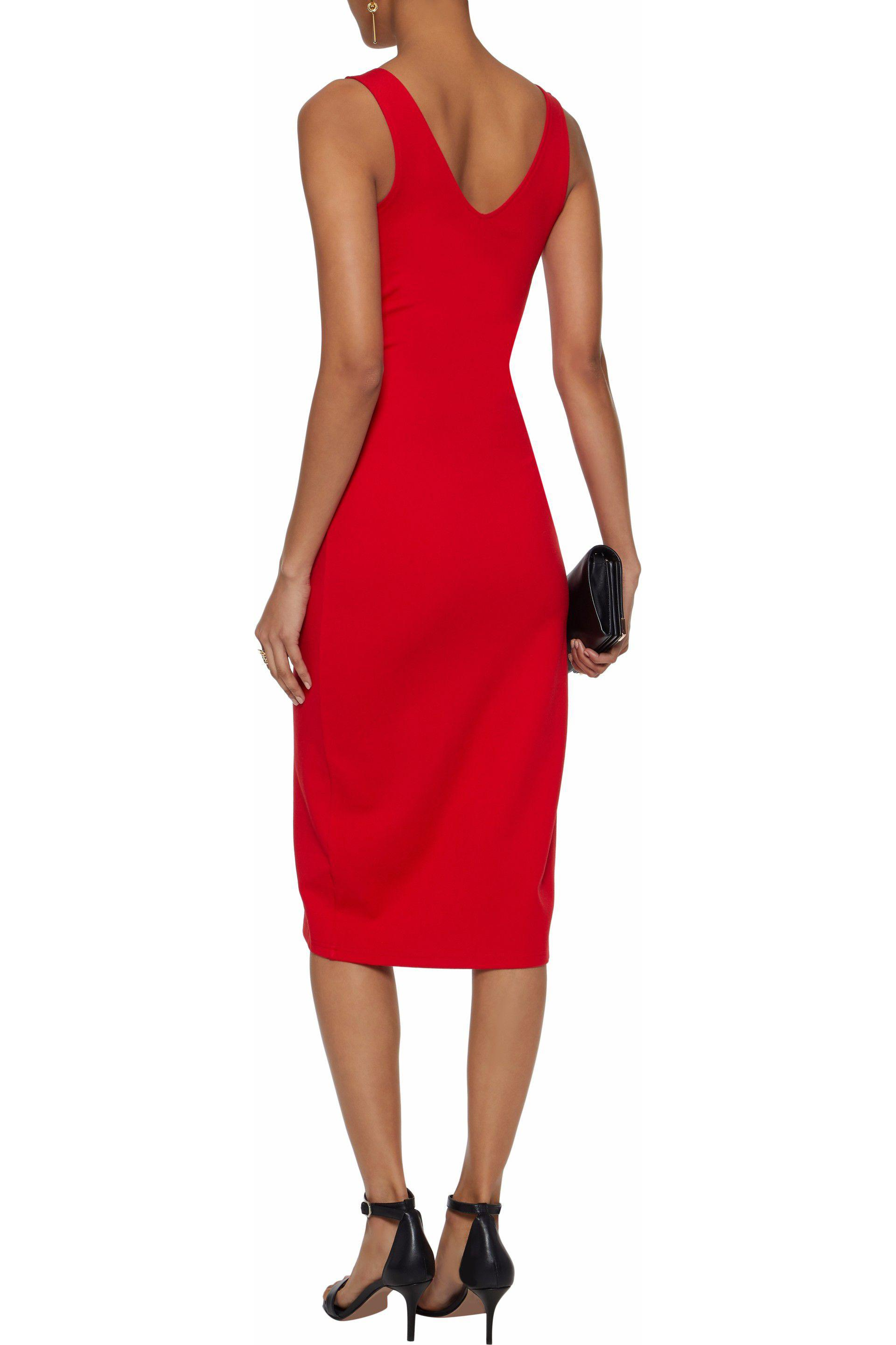 W118 By Walter Baker Woman One-shoulder Paneled Ribbed-knit Mini Dress Red Size L W118 by Walter Baker W2FrM