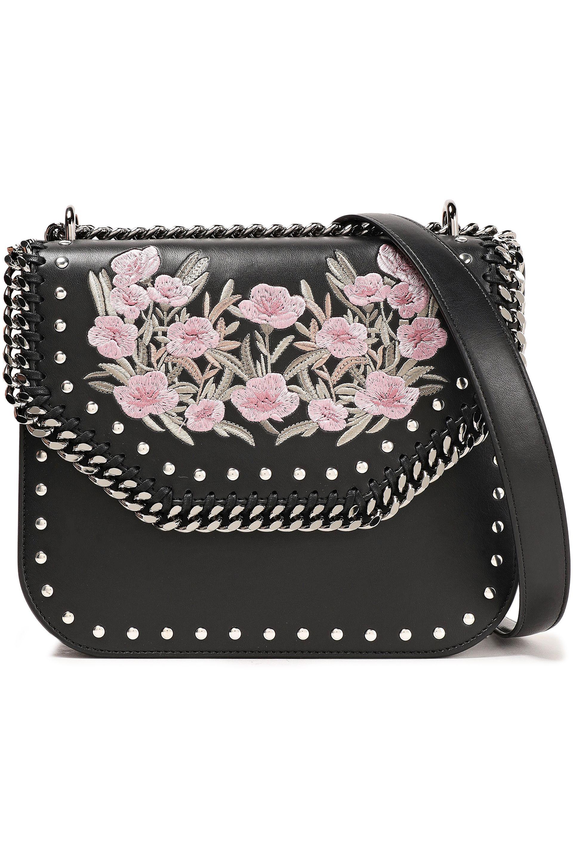 Stella McCartney. Women s Woman Falabella Embroidered Faux Leather Shoulder  Bag Black 0151c4e00b1d5