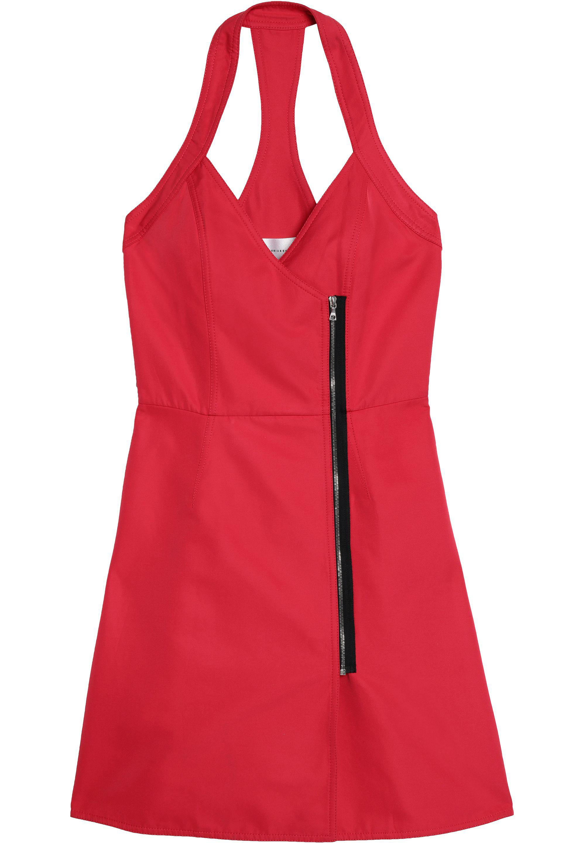 Victoria, Victoria Beckham Woman Open-back Zip-trimmed Twill Mini Dress Red Size 4 Victoria Beckham