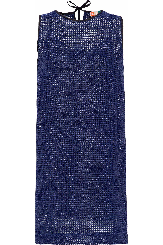 Msgm Woman Metallic Open-knit Mini Dress Navy Size 42 Msgm zEFIzHN2Tw