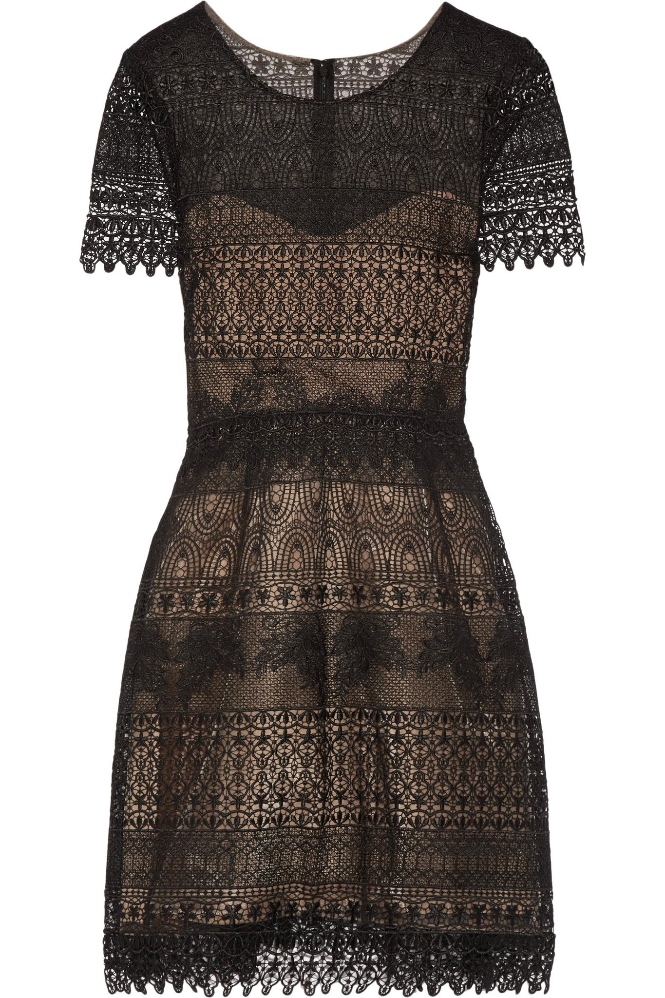 Marchesa Notte Woman Two-tone Guipure Lace And Tulle Mini Dress Black Size 2 Marchesa aCX29ndfuD
