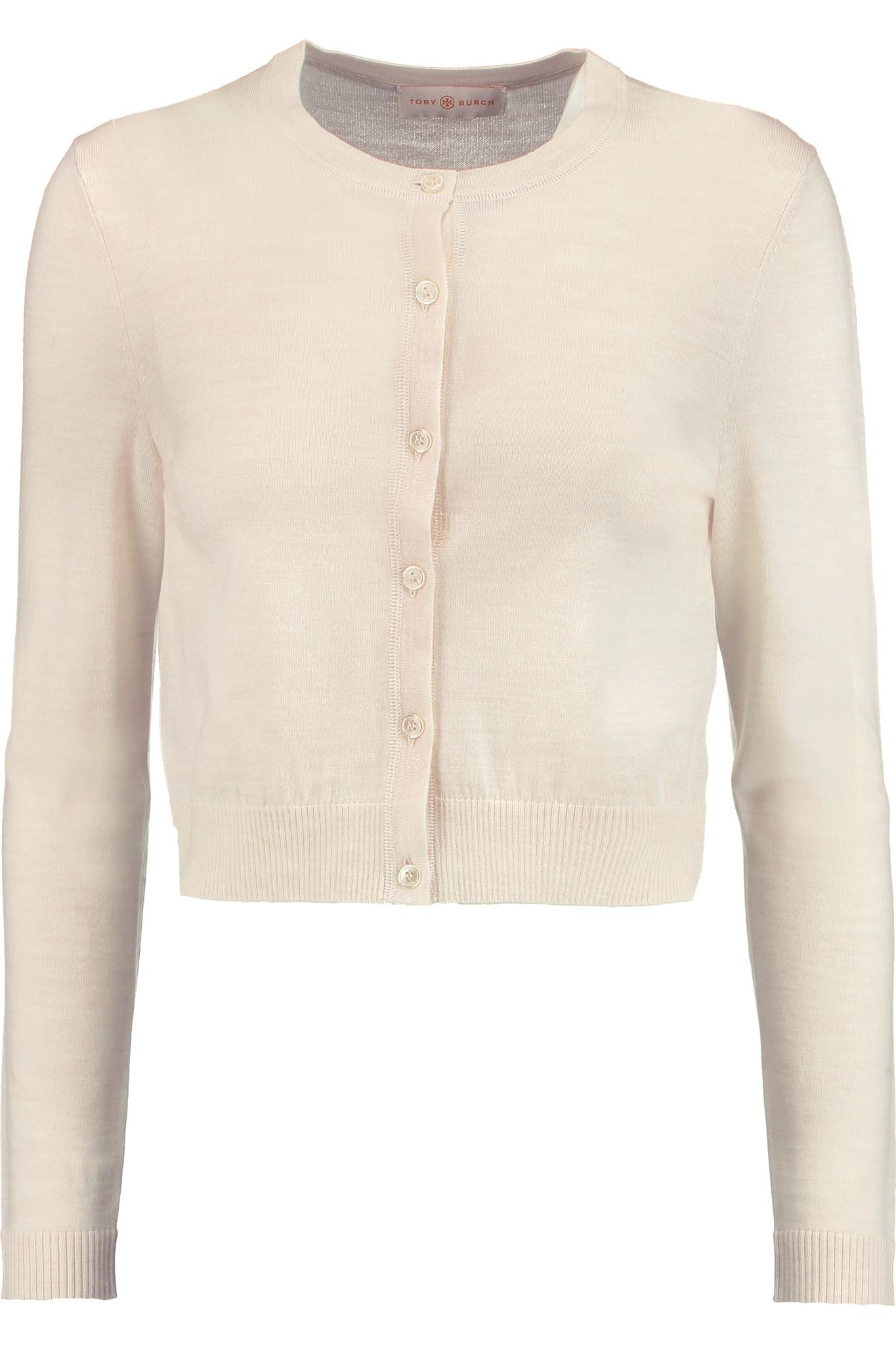 e35d9069e4c Lyst - Tory Burch Simone Cropped Merino Wool Cardigan in Natural