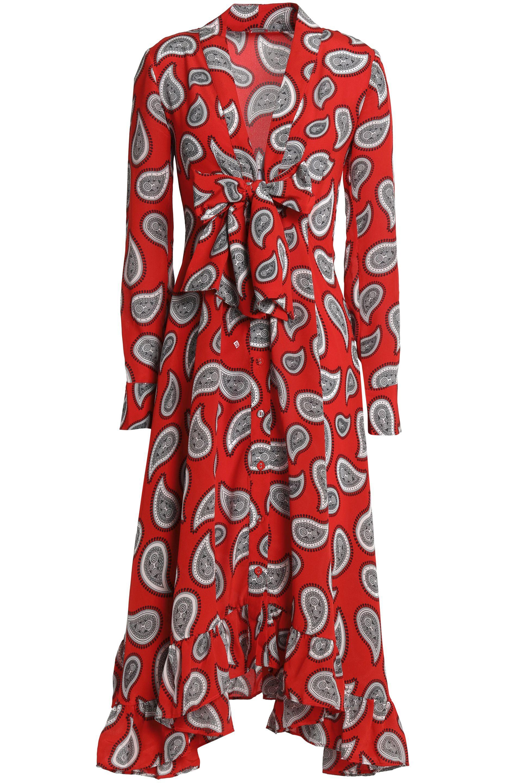Dodo Bar Or Woman Ruffle-trimmed Two-tone Printed Silk Midi Dress Red Size 40 Dodo Bar Or Owp7CLAj