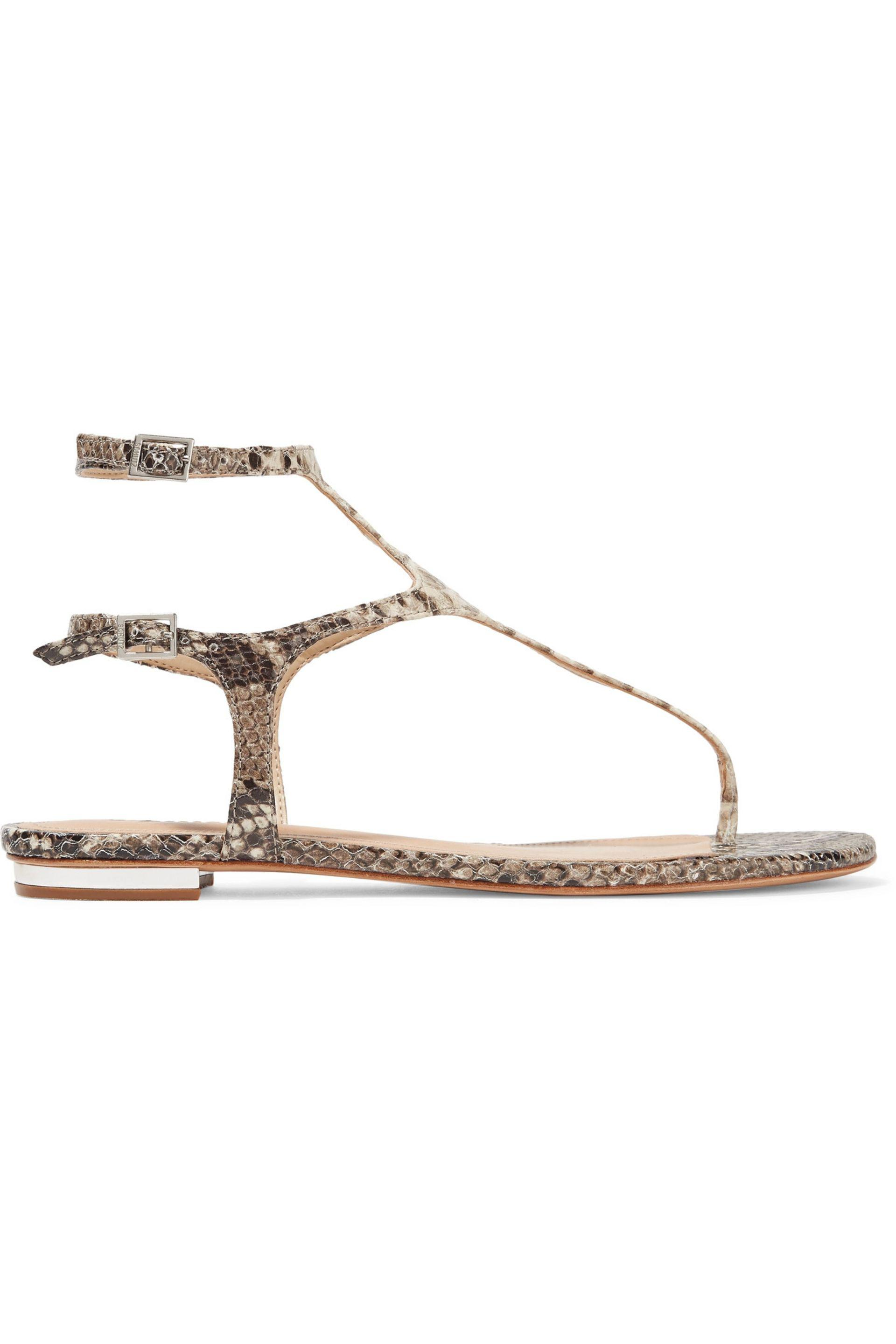 ce4e432d465a4c Lyst - Schutz Galey Snake-effect Leather Sandals in White