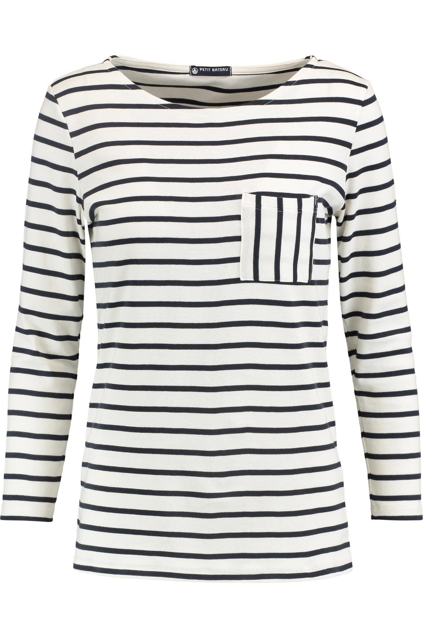 Lyst petit bateau striped cotton jersey top in white for Petit bateau striped shirt