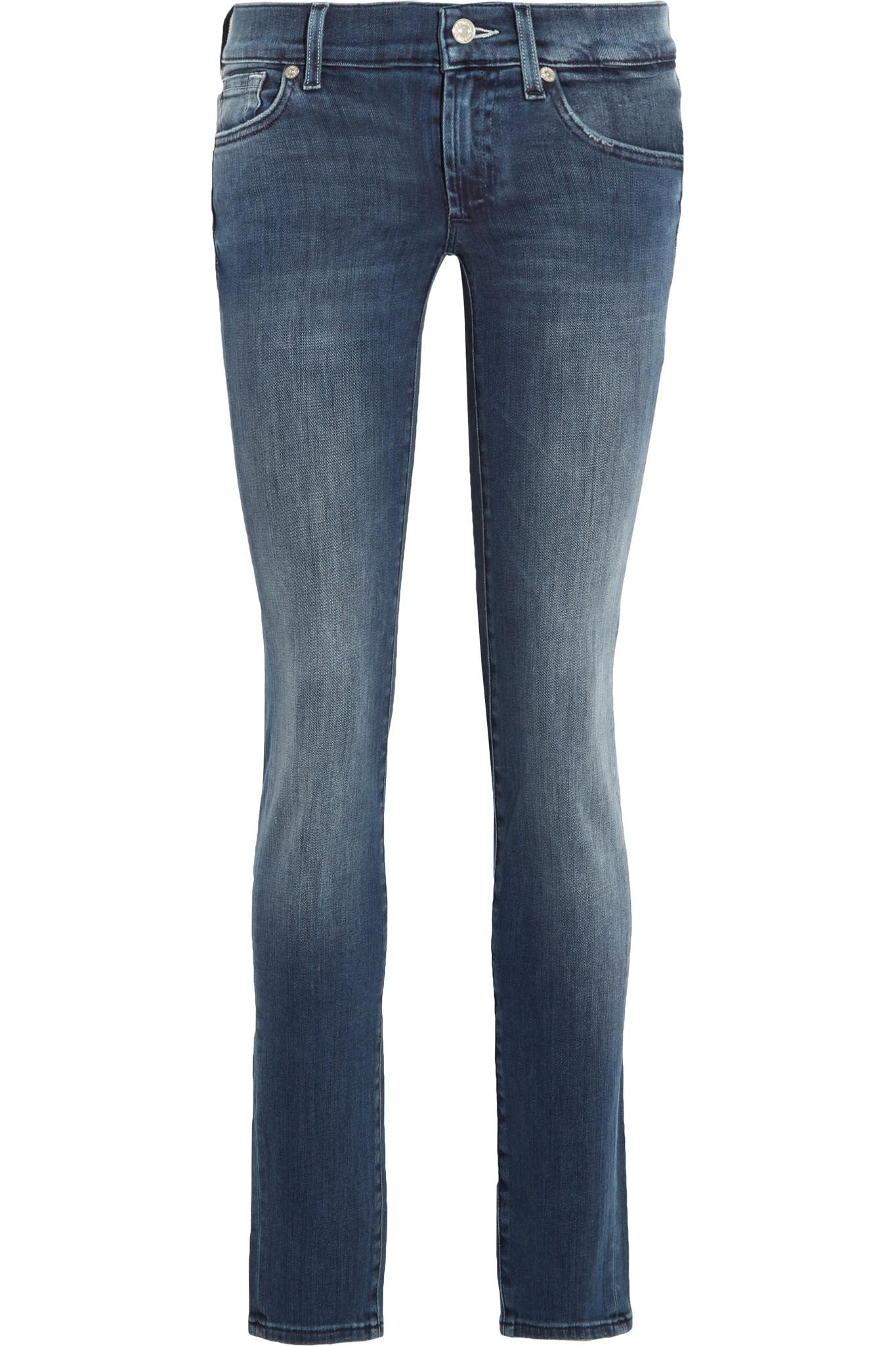 7 for all mankind roxanne low rise skinny jeans in blue lyst. Black Bedroom Furniture Sets. Home Design Ideas