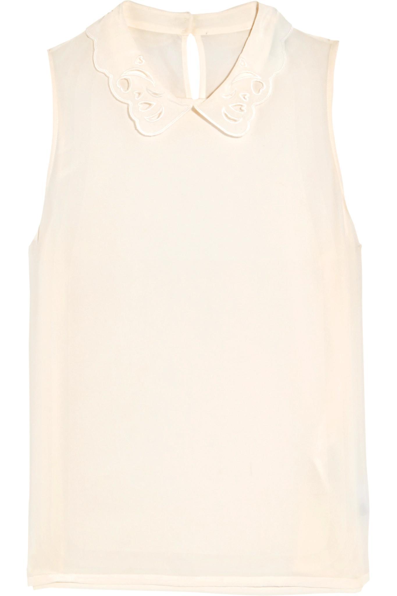 Maje Woman Ruffled Point Desprit-paneled Silk-chiffon Top White Size 1 Maje Cheap Wiki VG1Dn6BSj
