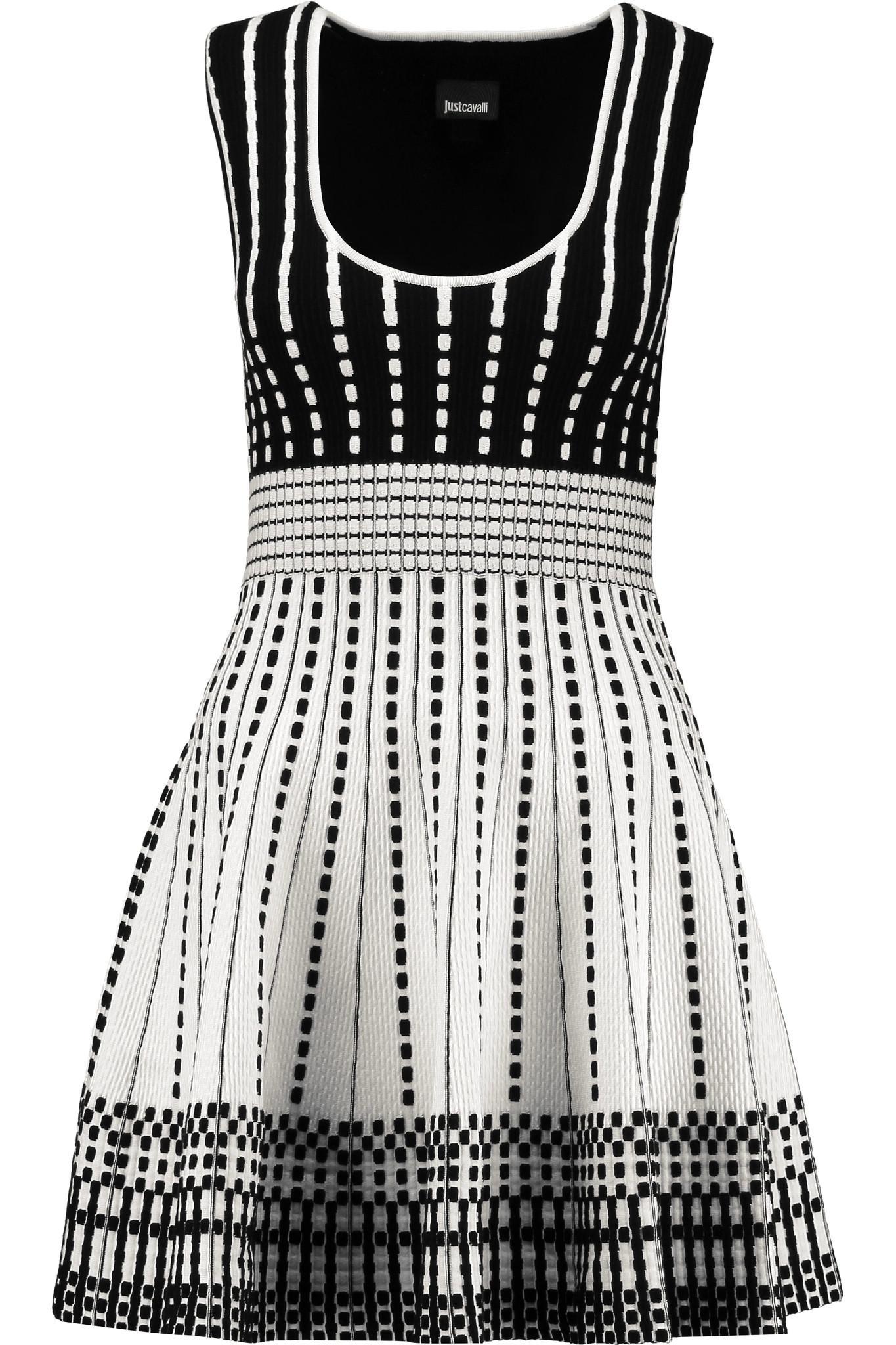 Just Cavalli Woman Metallic Intarsia-knit Mini Dress Gray Size M Just Cavalli 7paex