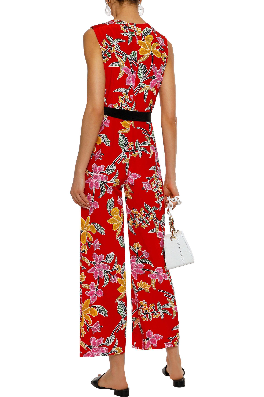 39a67af60db3 Diane von Furstenberg - Woman Wrap-effect Floral-print Silk Jumpsuit Red -  Lyst. View fullscreen