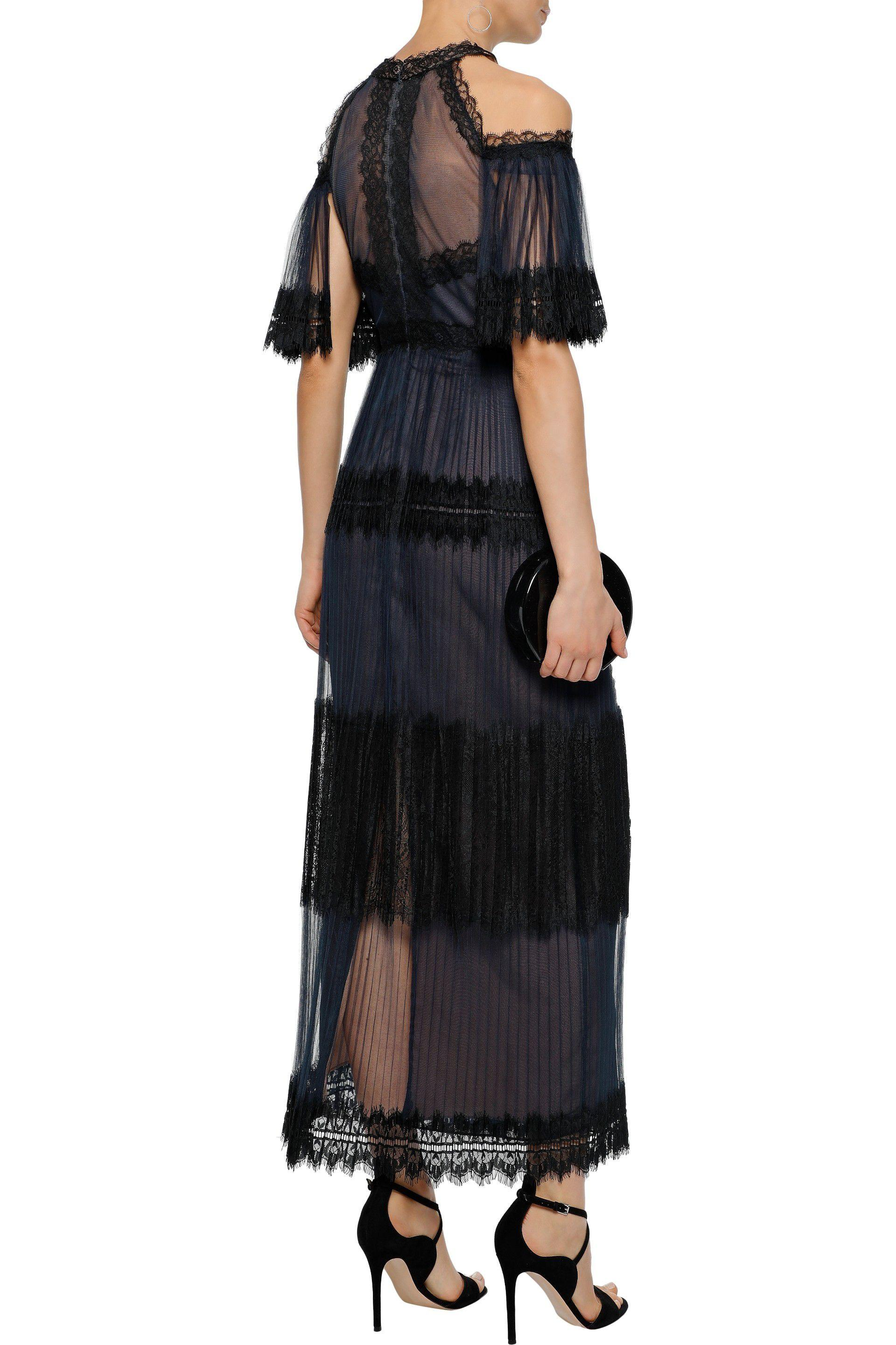 06a7265e Marchesa notte - Purple Woman Cold-shoulder Lace-paneled Pleated Tulle Gown  Navy -. View fullscreen