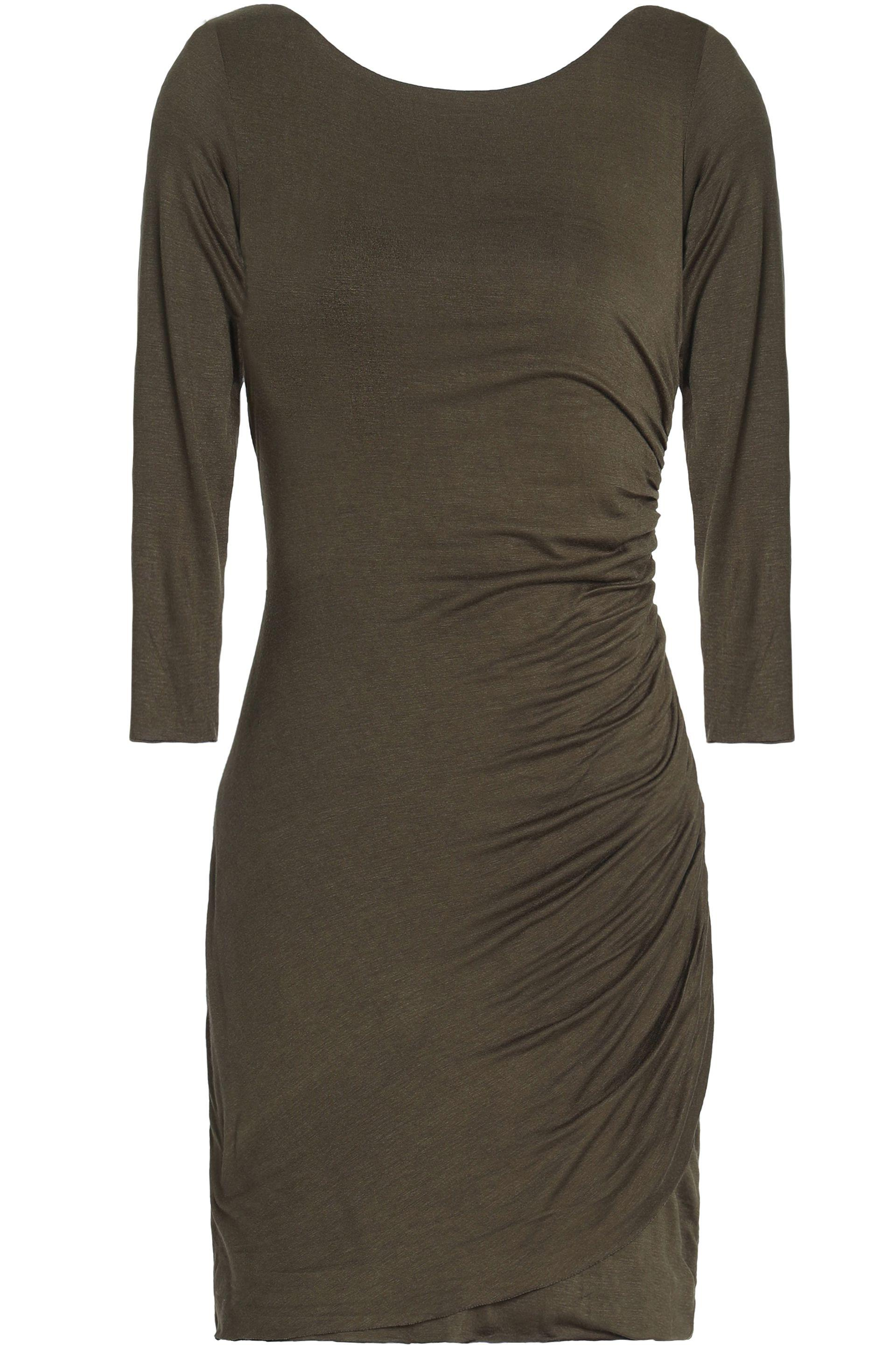 a427d609e69 Lyst - Bailey 44 Twist-back Ruched Stretch-jersey Mini Dress in Green