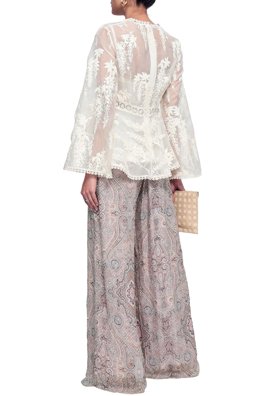 ab4b6be7f0efb Zimmermann - White Woman Embroidered Silk-organza Top Ivory - Lyst. View  fullscreen