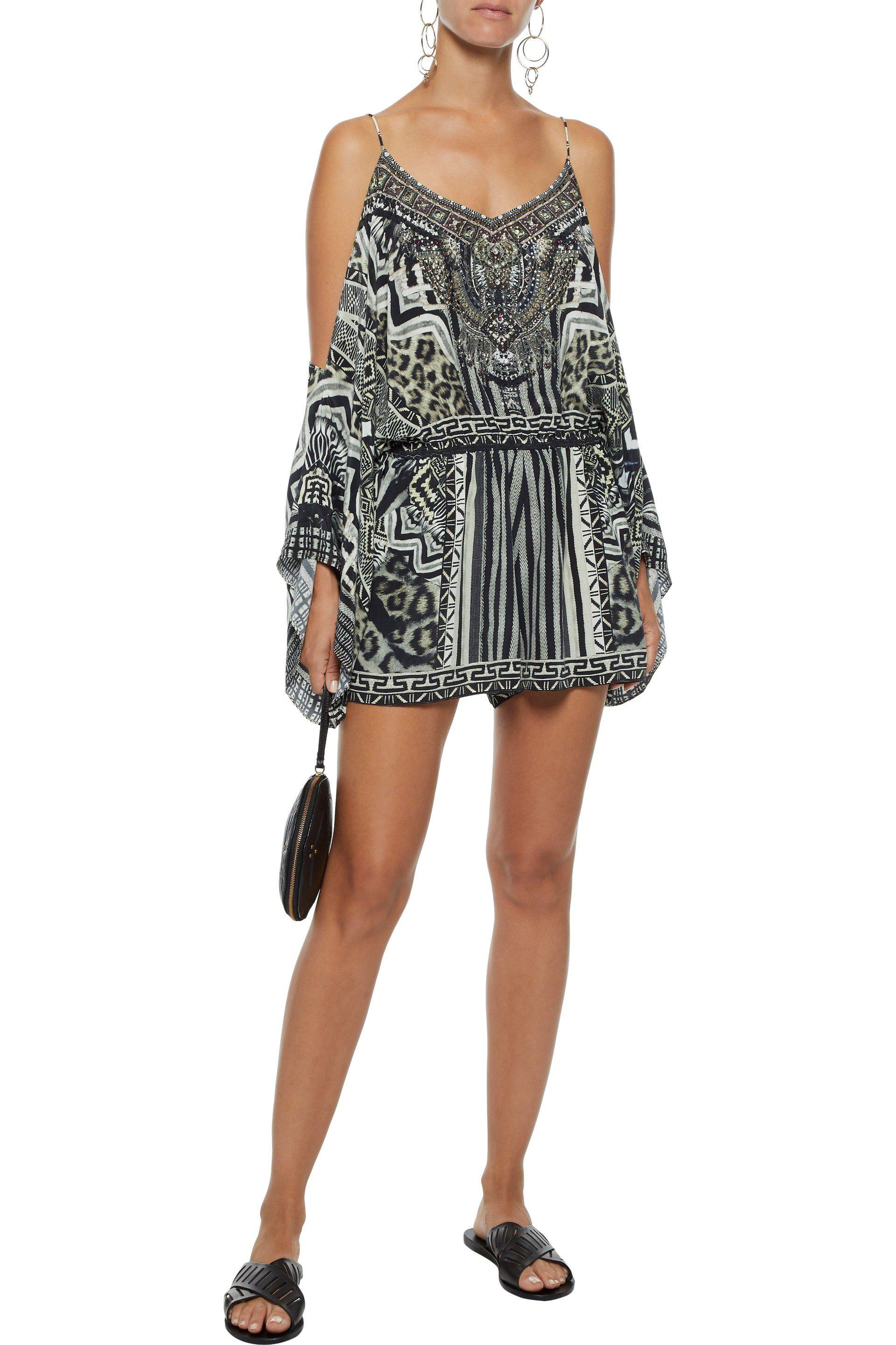 c160161456 Camilla - Woman Close To My Heart Cold-shoulder Embellished Printed Silk  Playsuit Black -. View fullscreen