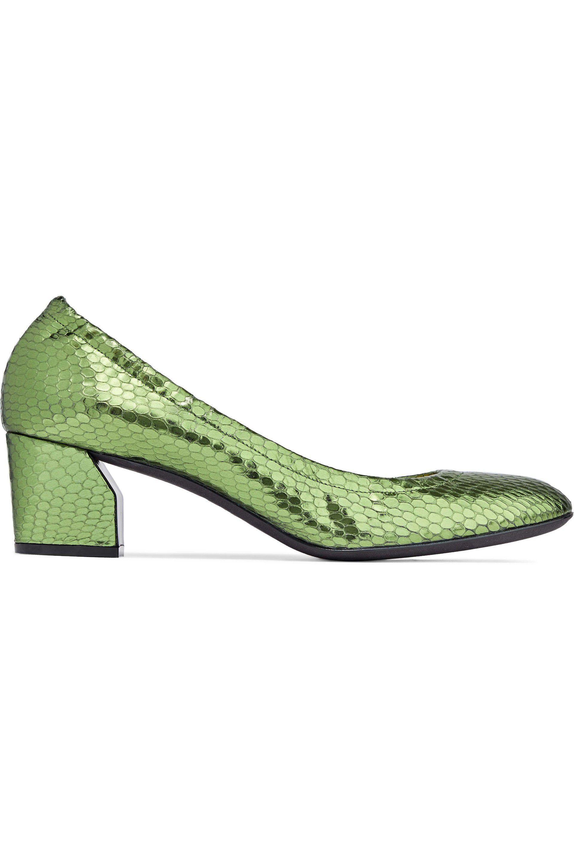 41e4dba45c27 Lyst - Casadei Metallic Snake-effect Leather Pumps Leaf Green in Green