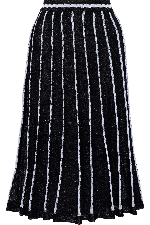 ef1f9b51a0 Lyst - M Missoni Woman Pleated Crochet-knit Midi Skirt Black in ...