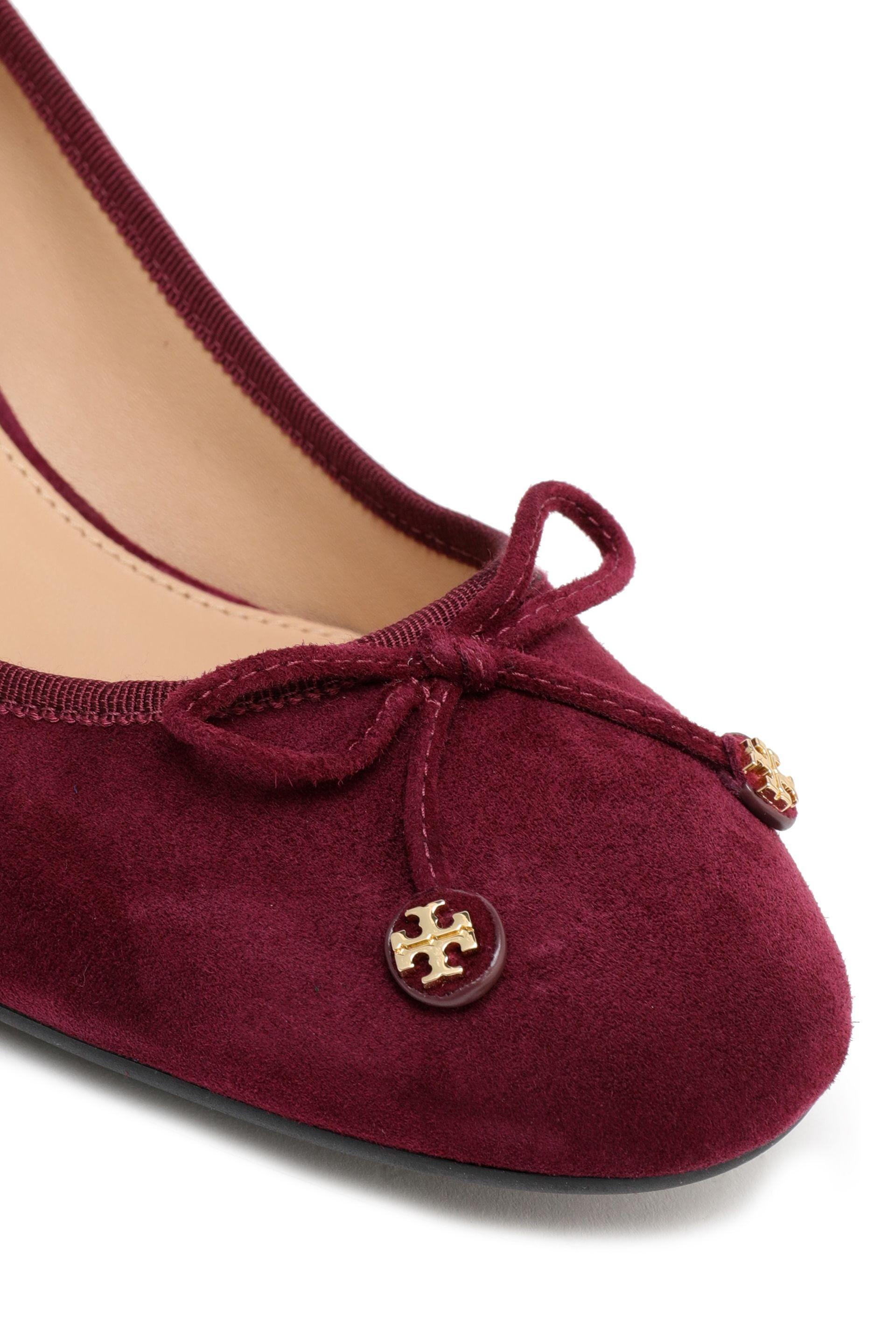 255ce9a5bfa9 Tory Burch - Red Woman Bow-detailed Suede Pumps Burgundy - Lyst. View  fullscreen