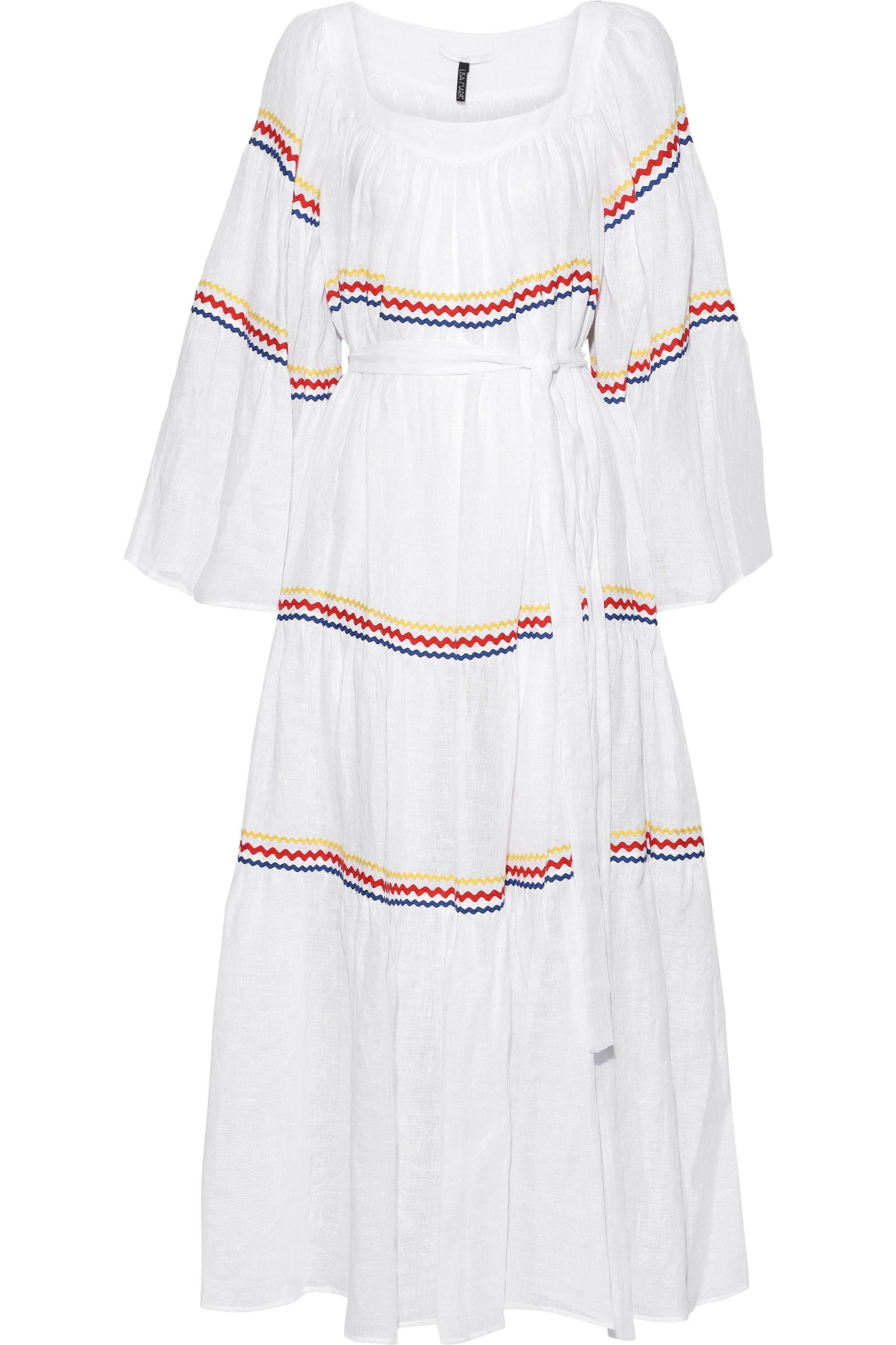51c505e834 Lisa Marie Fernandez. Women s Woman Belted Rick Rack-trimmed Linen Maxi  Dress White ...